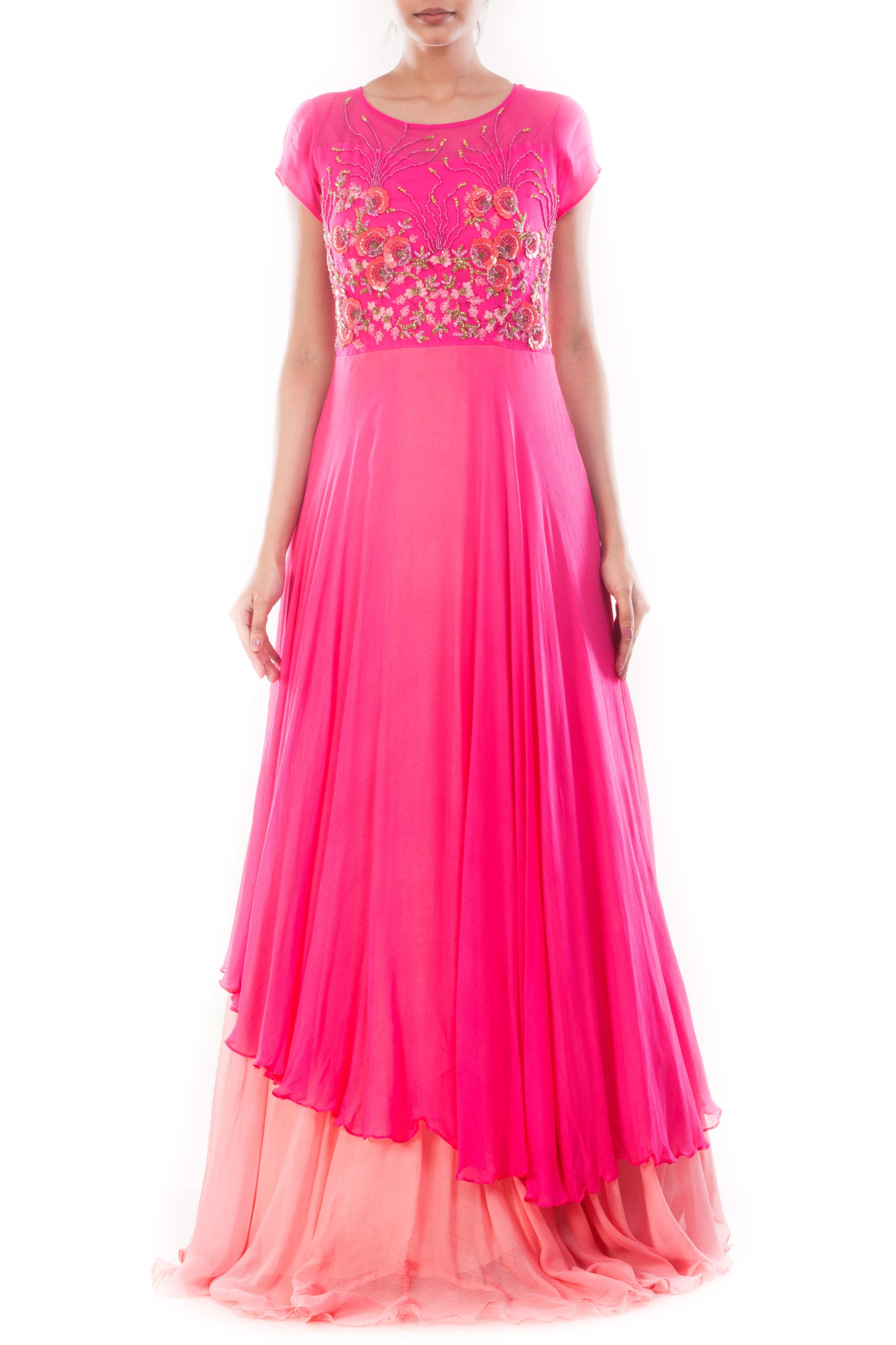 Fuchsia Pink Double Layer Gown Front