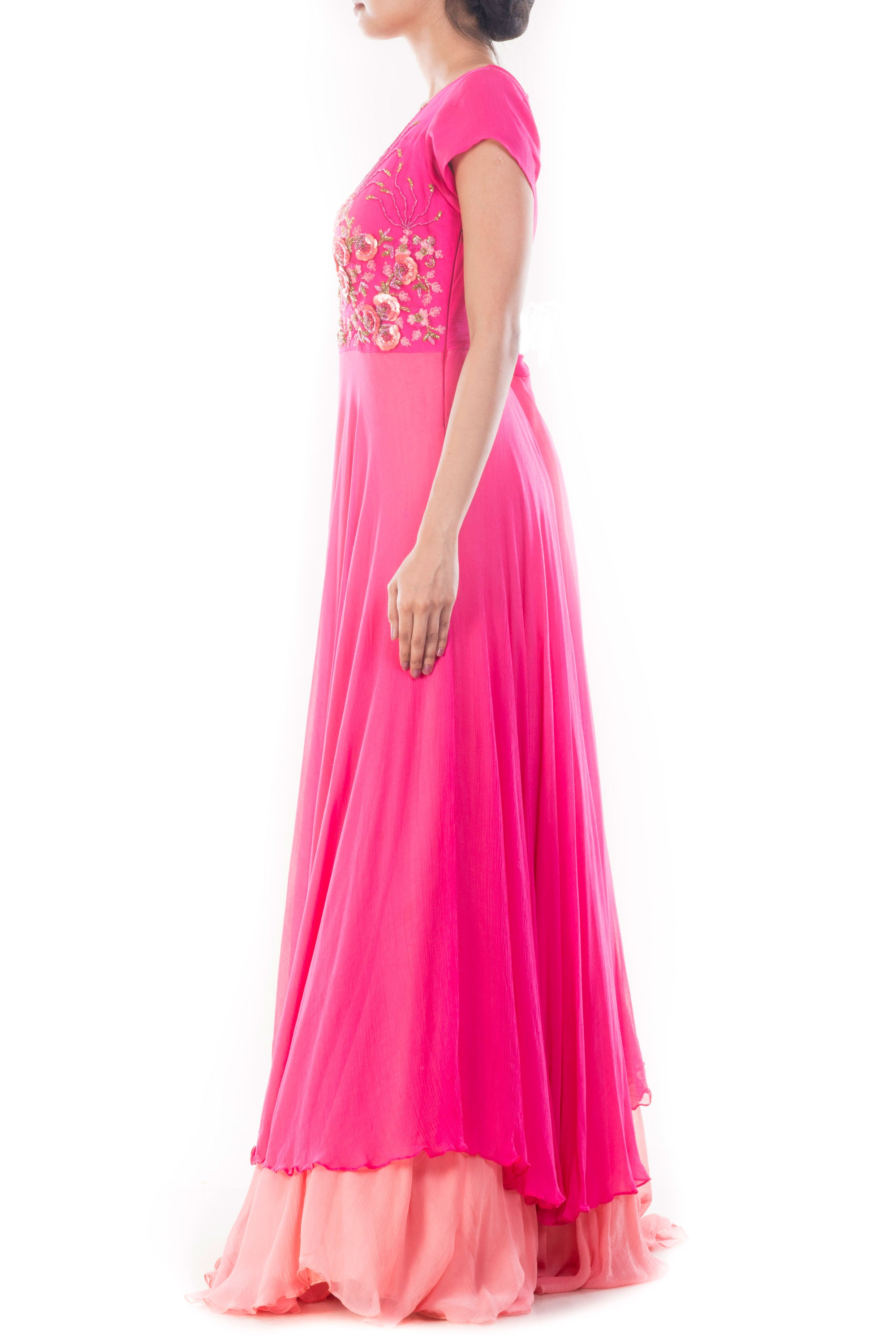 Fuchsia Pink Double Layer Gown Side