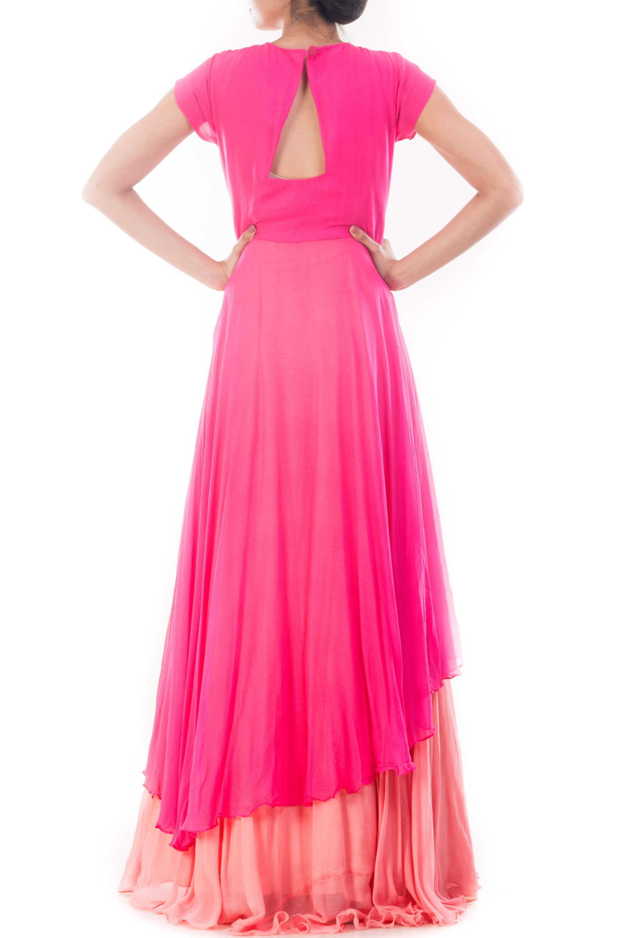 Fuchsia Pink Double Layer Gown Back