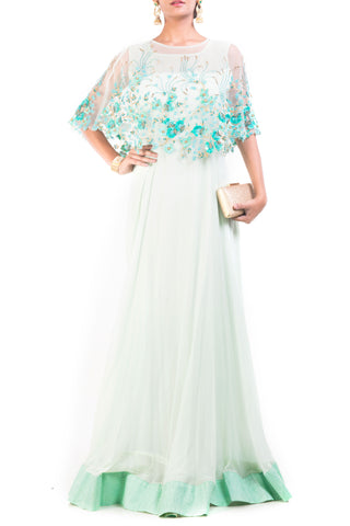 Alice Blue Gown With Embroidered Cape Front
