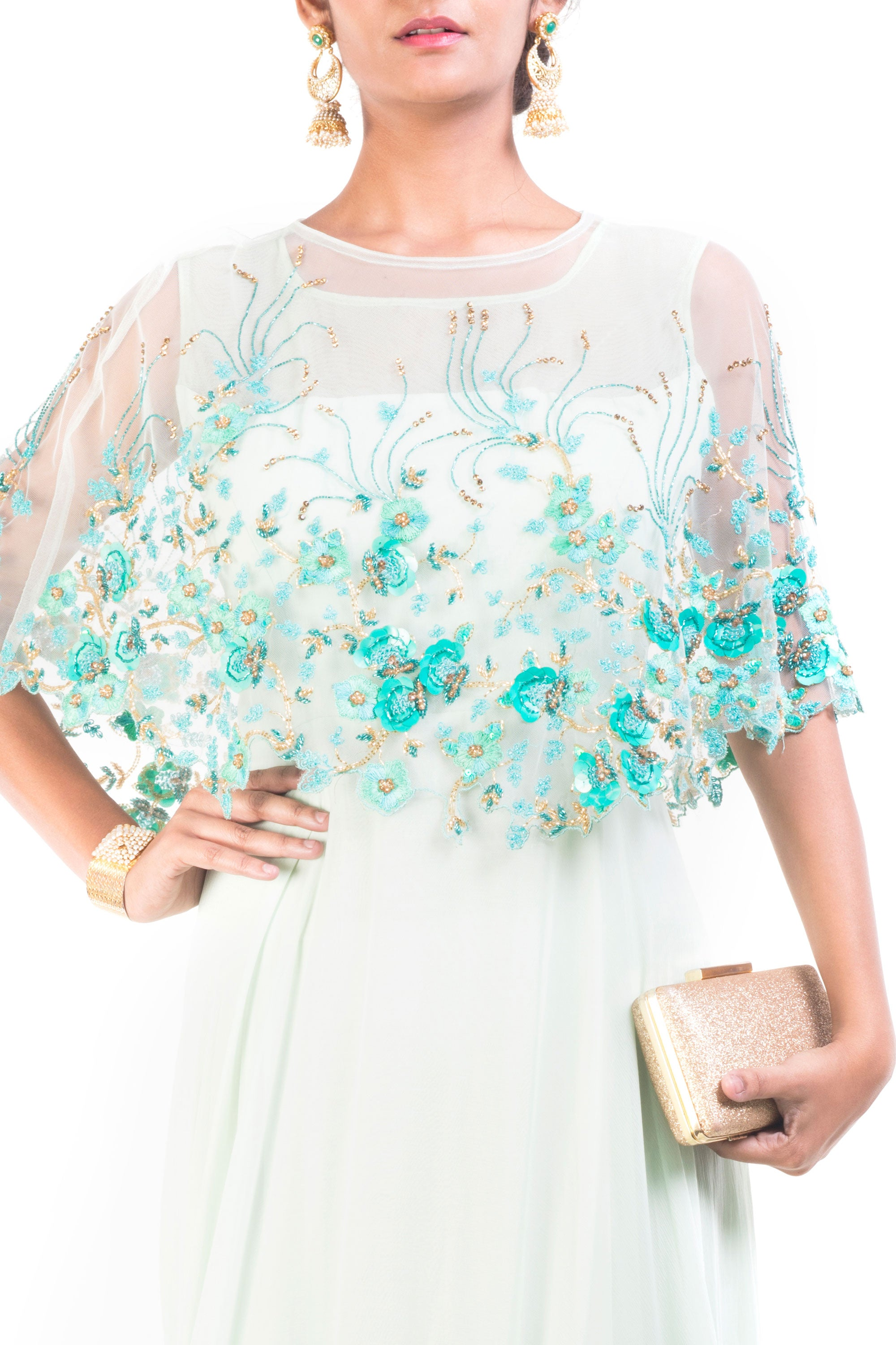 Alice Blue Gown With Embroidered Cape Closeup
