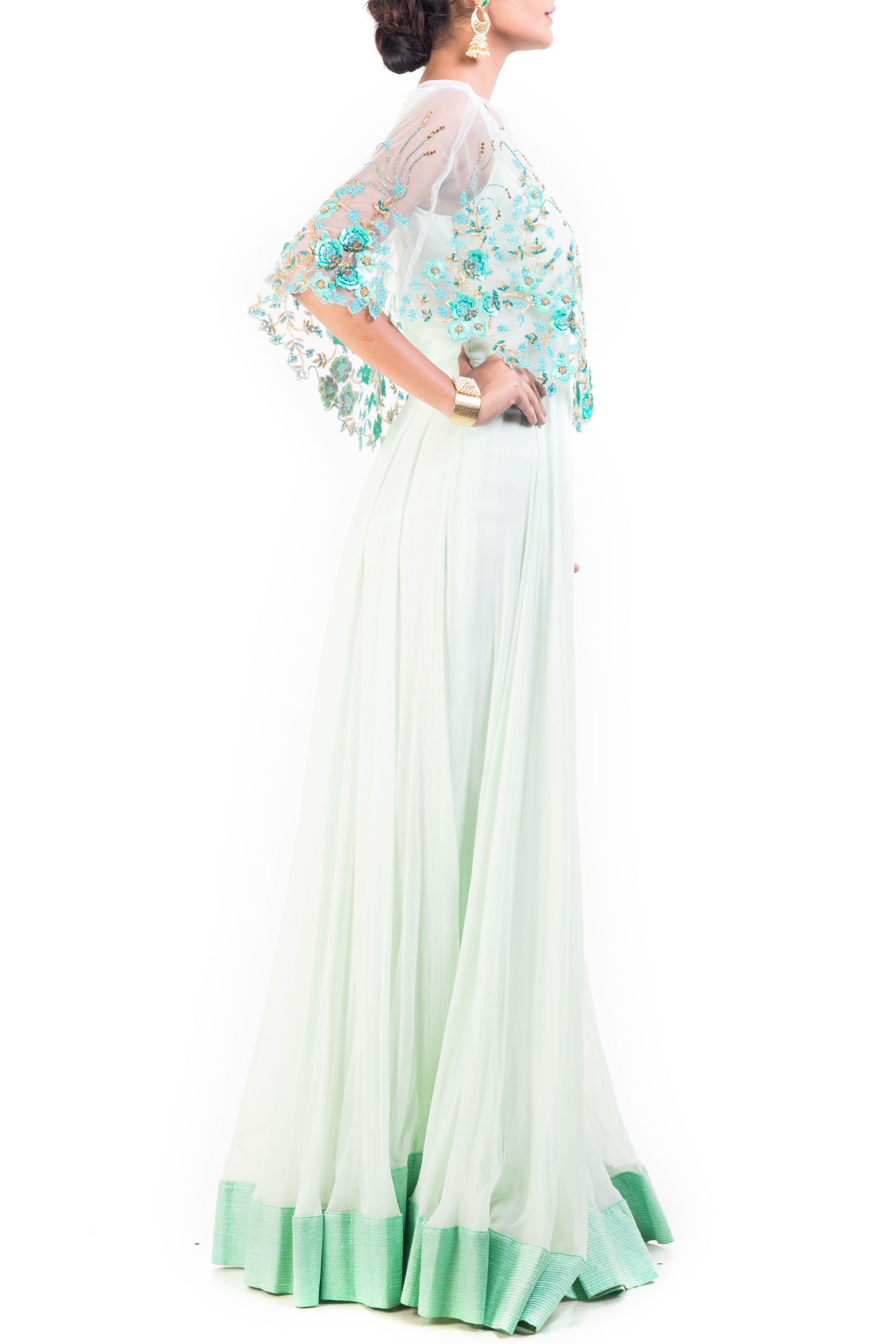 Alice Blue Gown With Embroidered Cape Side