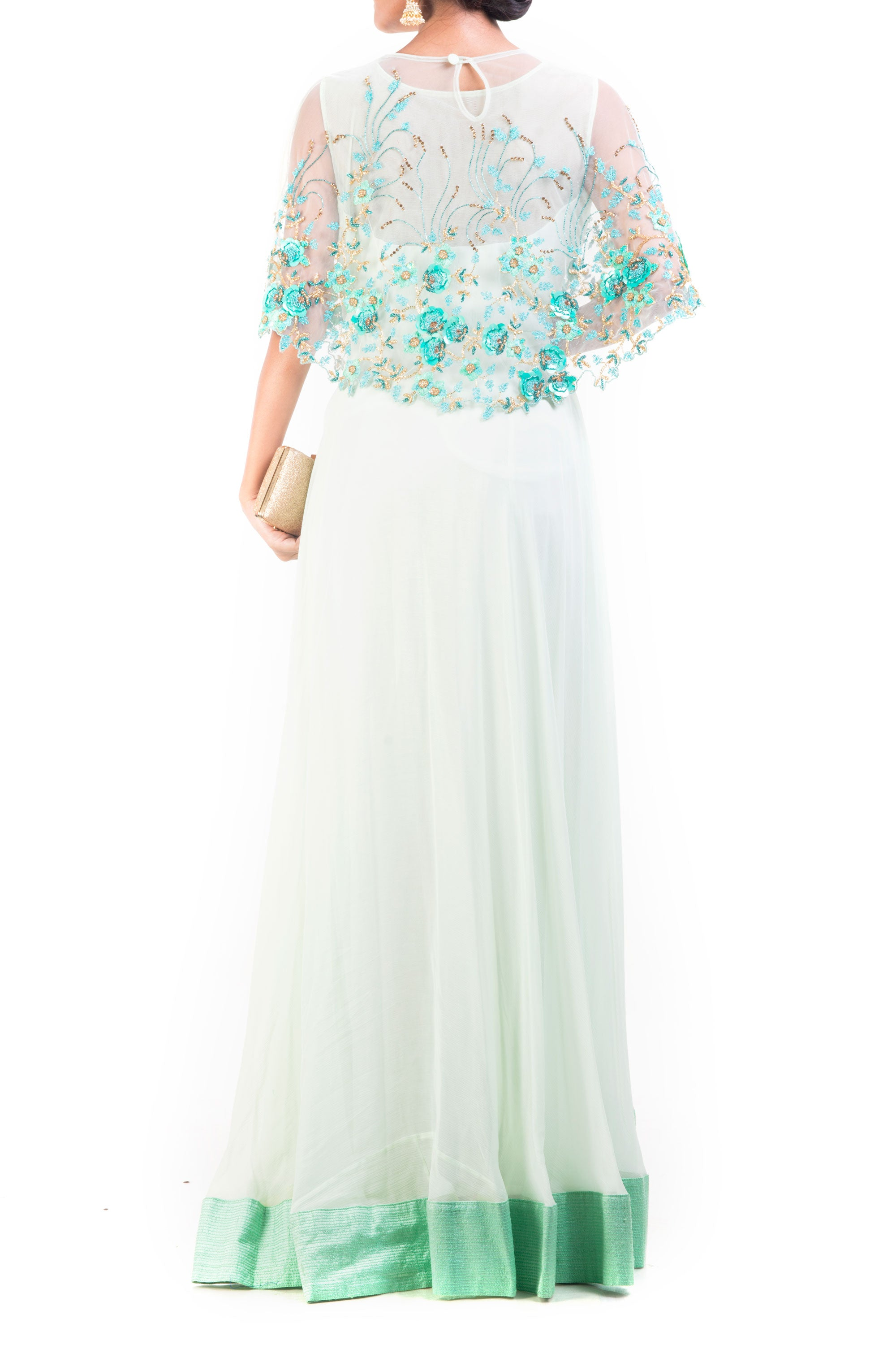 Alice Blue Gown With Embroidered Cape Back