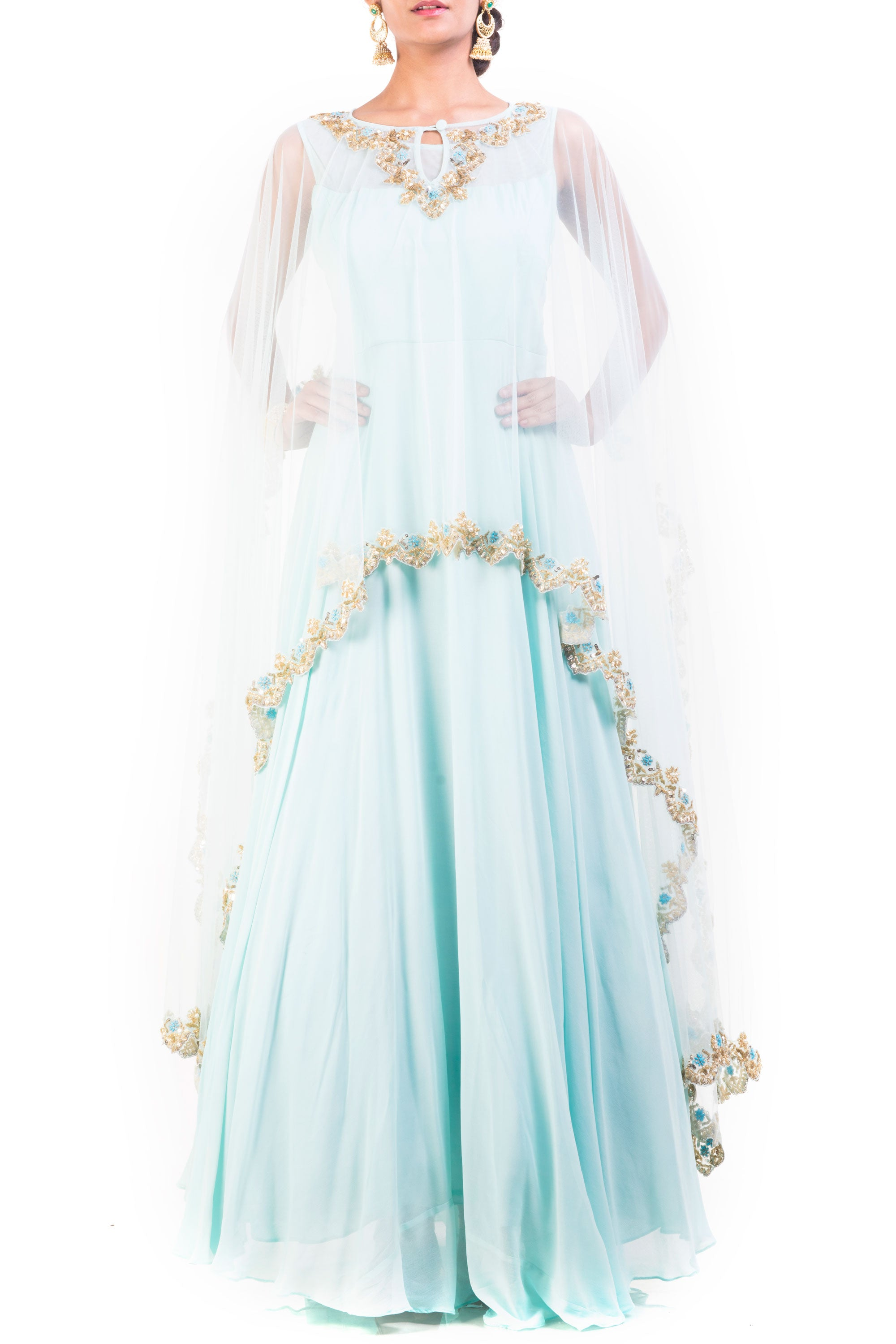 Honeydew Embroidered Cape Gown Set Front