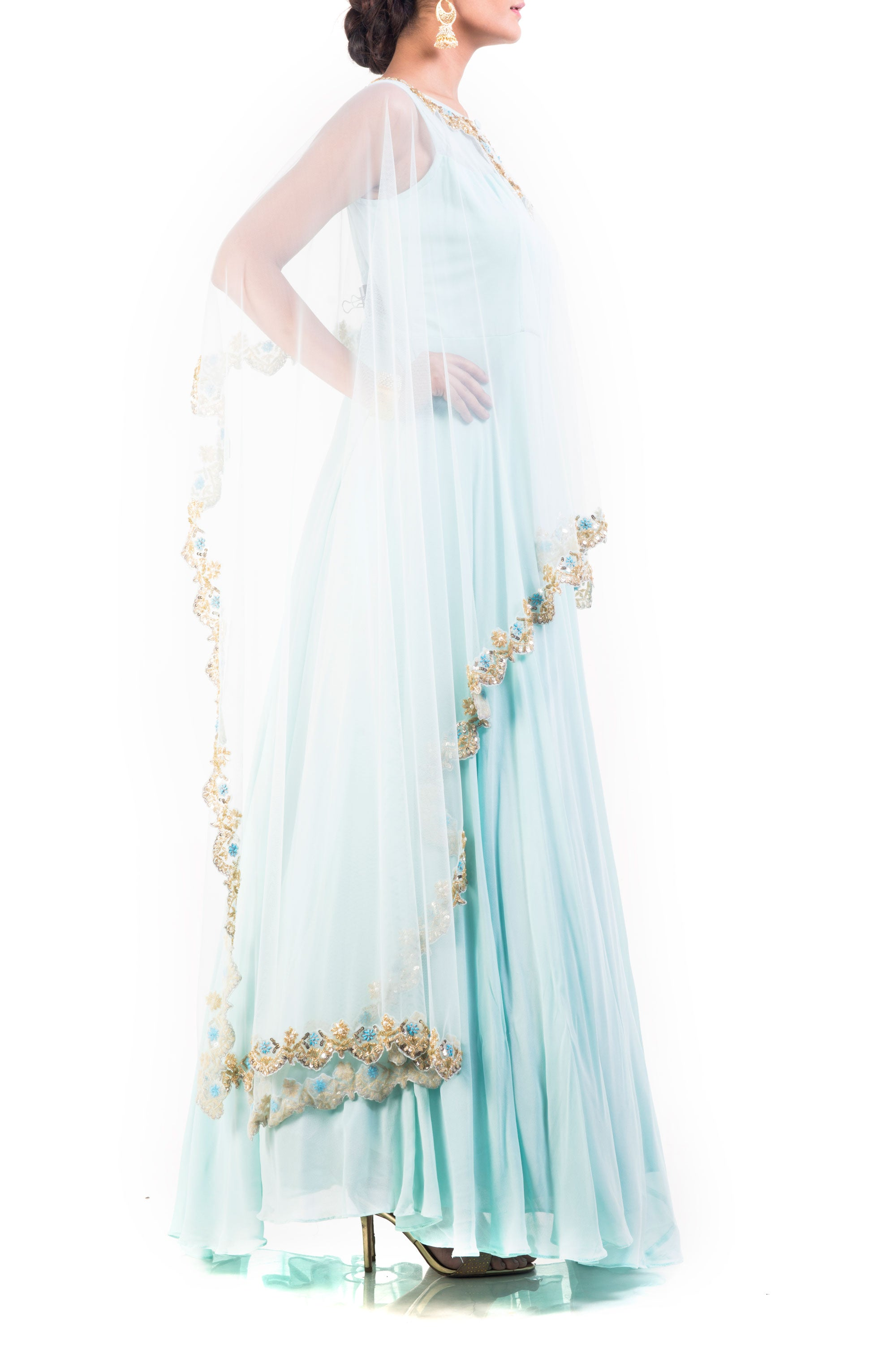 Honeydew Embroidered Cape Gown Set Side