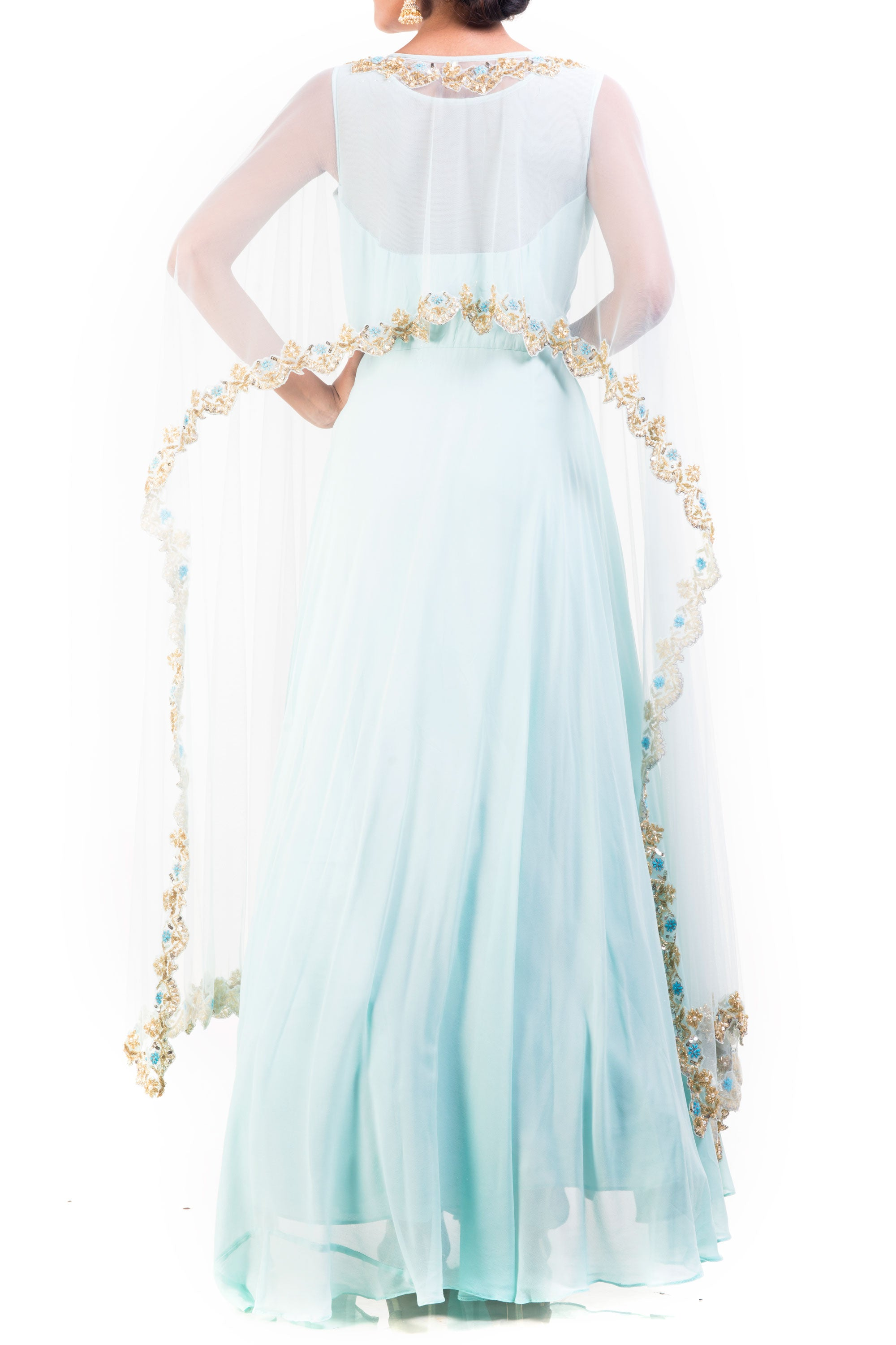 Honeydew Embroidered Cape Gown Set Back
