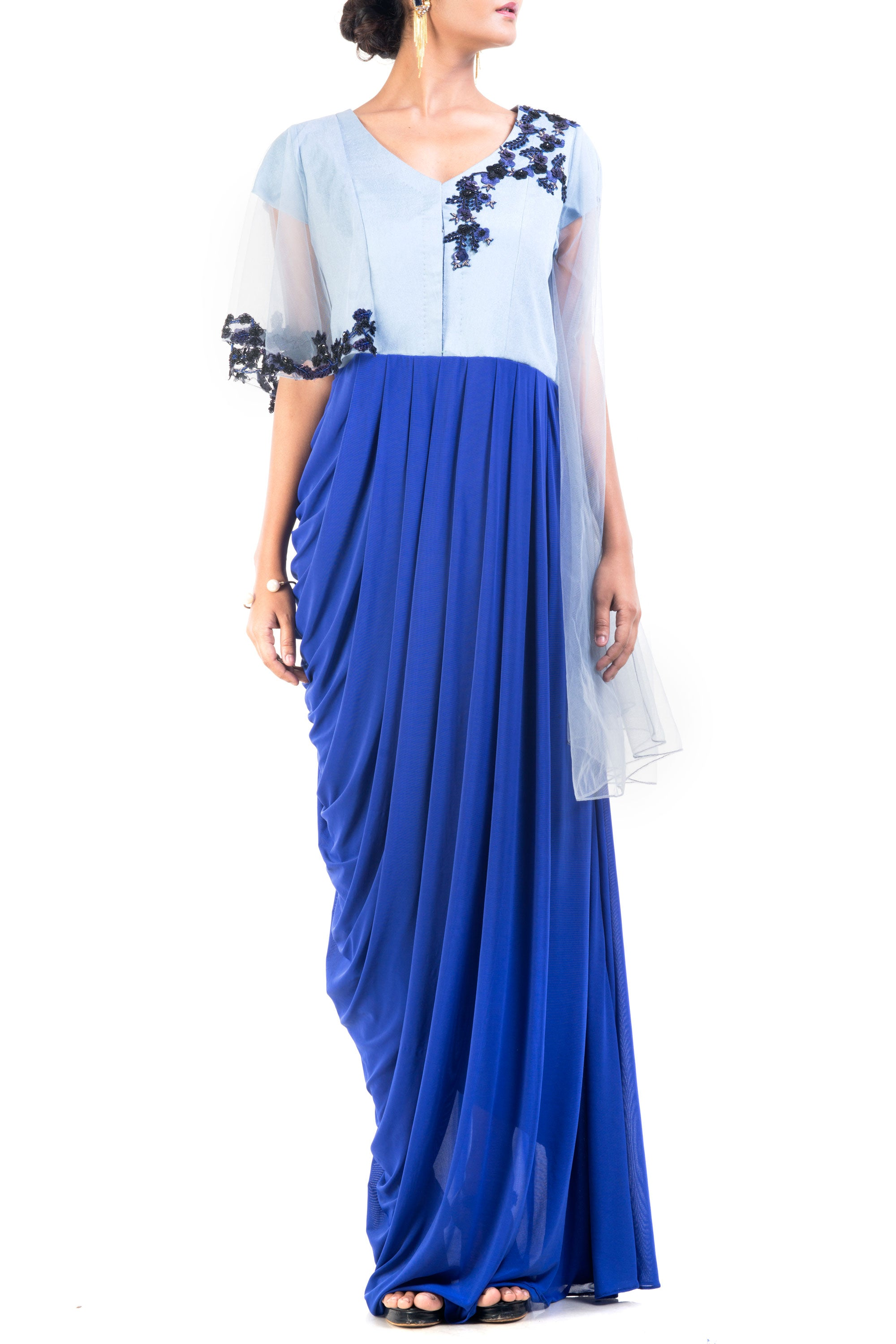 Midnight Blue Dress With Bell Sleeves Front