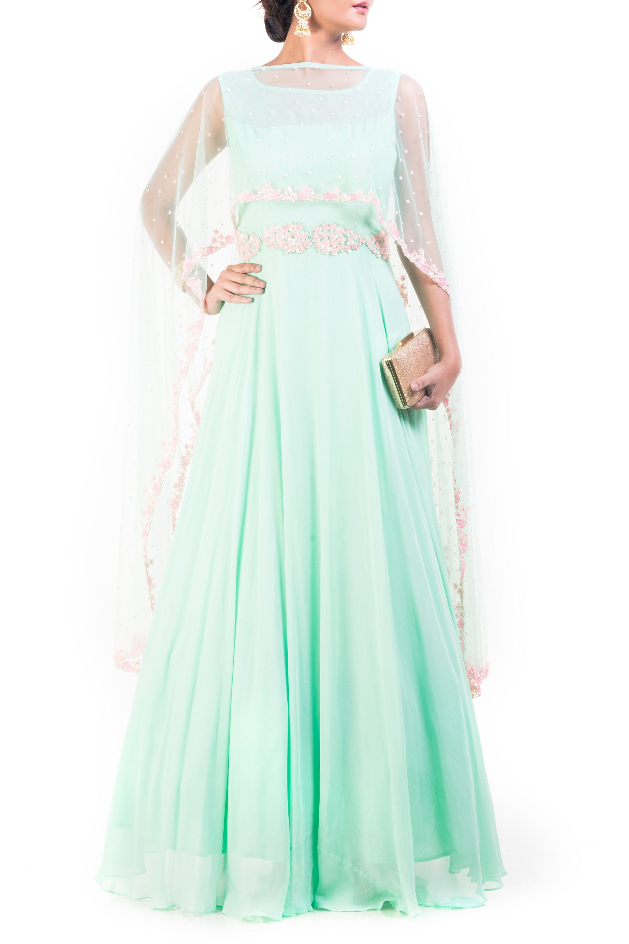 Azure Cape Gown With Carnation Pink Embroidery Front