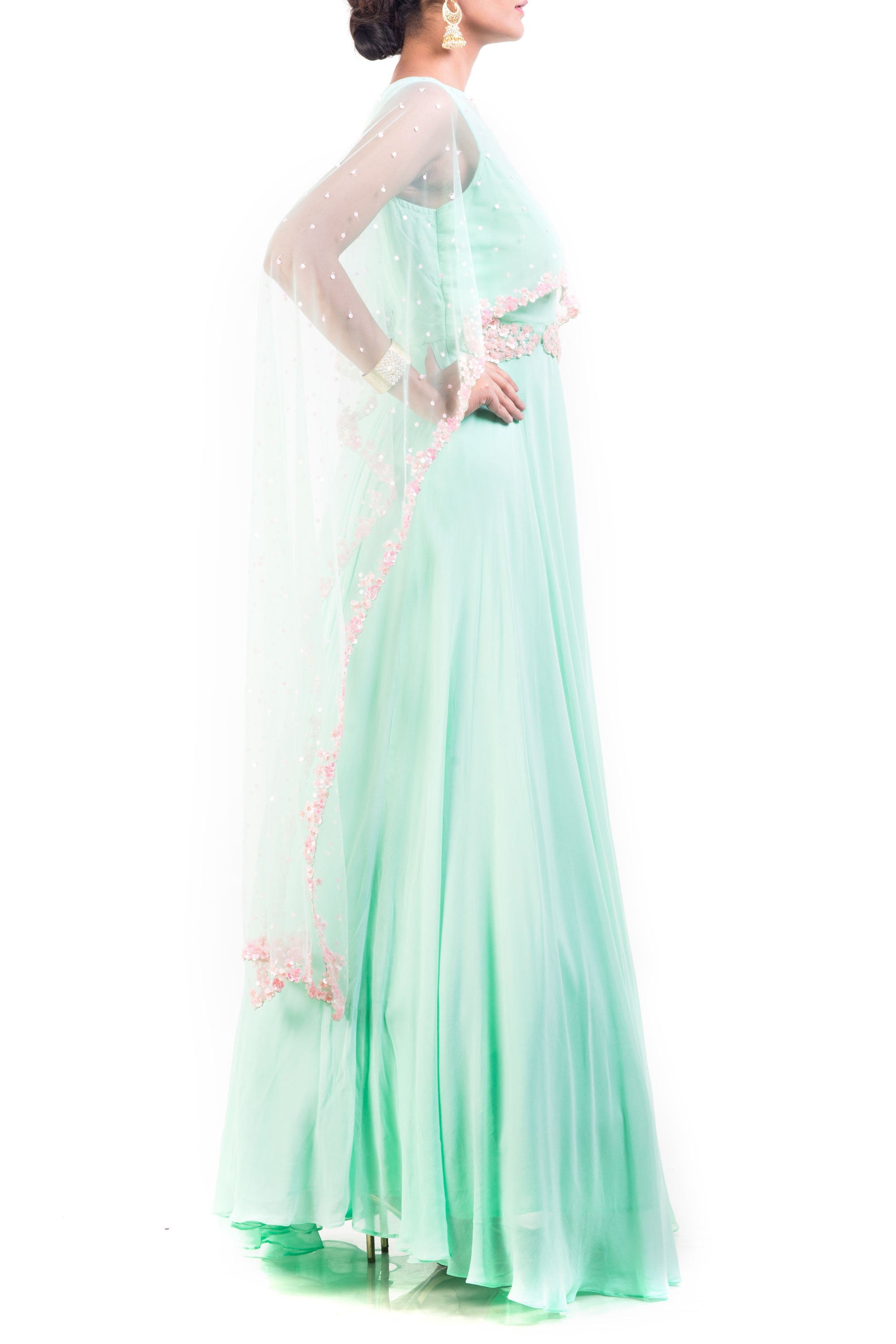 Azure Cape Gown With Carnation Pink Embroidery Side