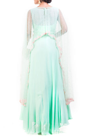 Azure Green Cape Gown With Embroidery