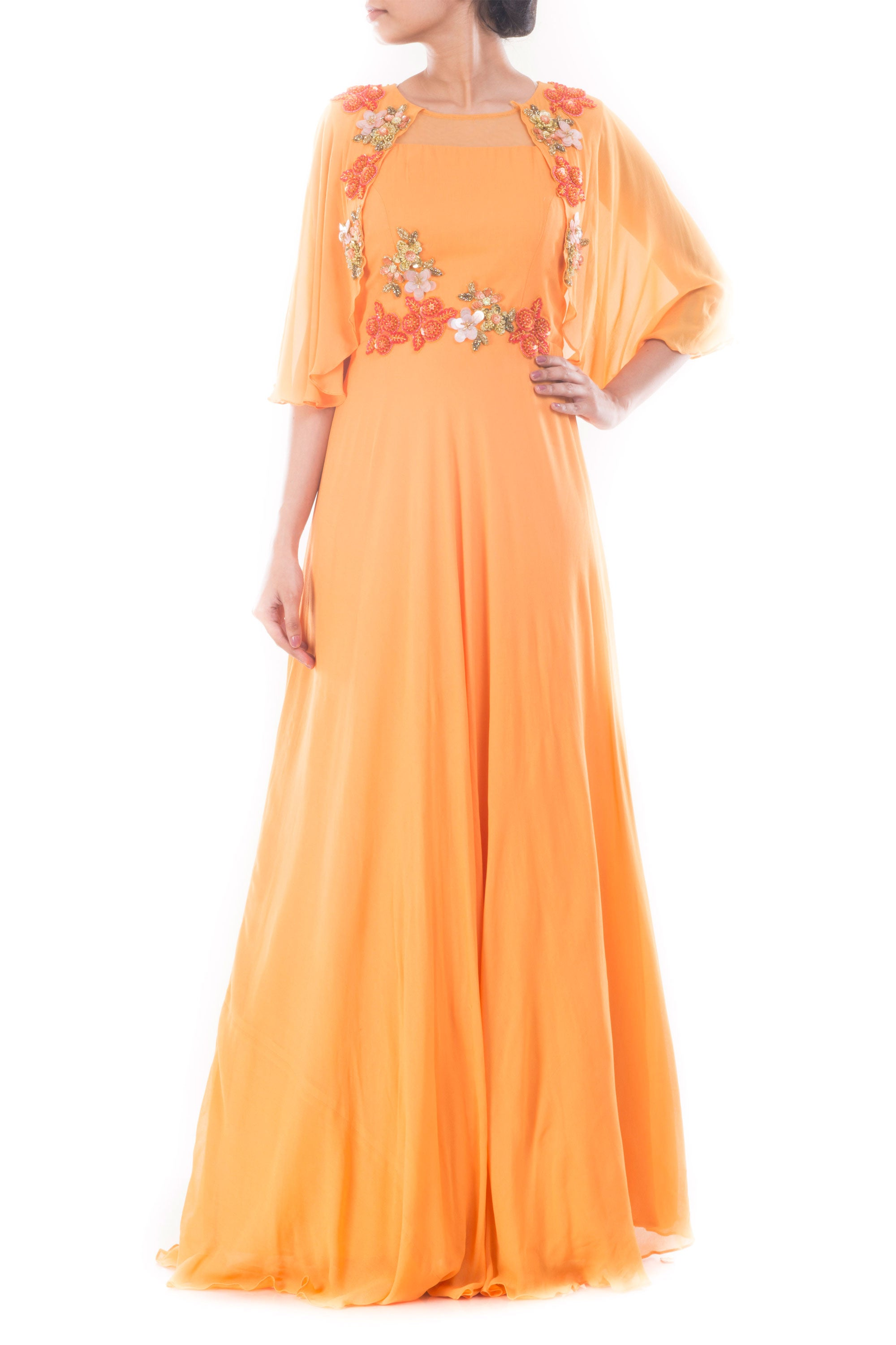 Coral Yellow Flare Jacket Gown Front
