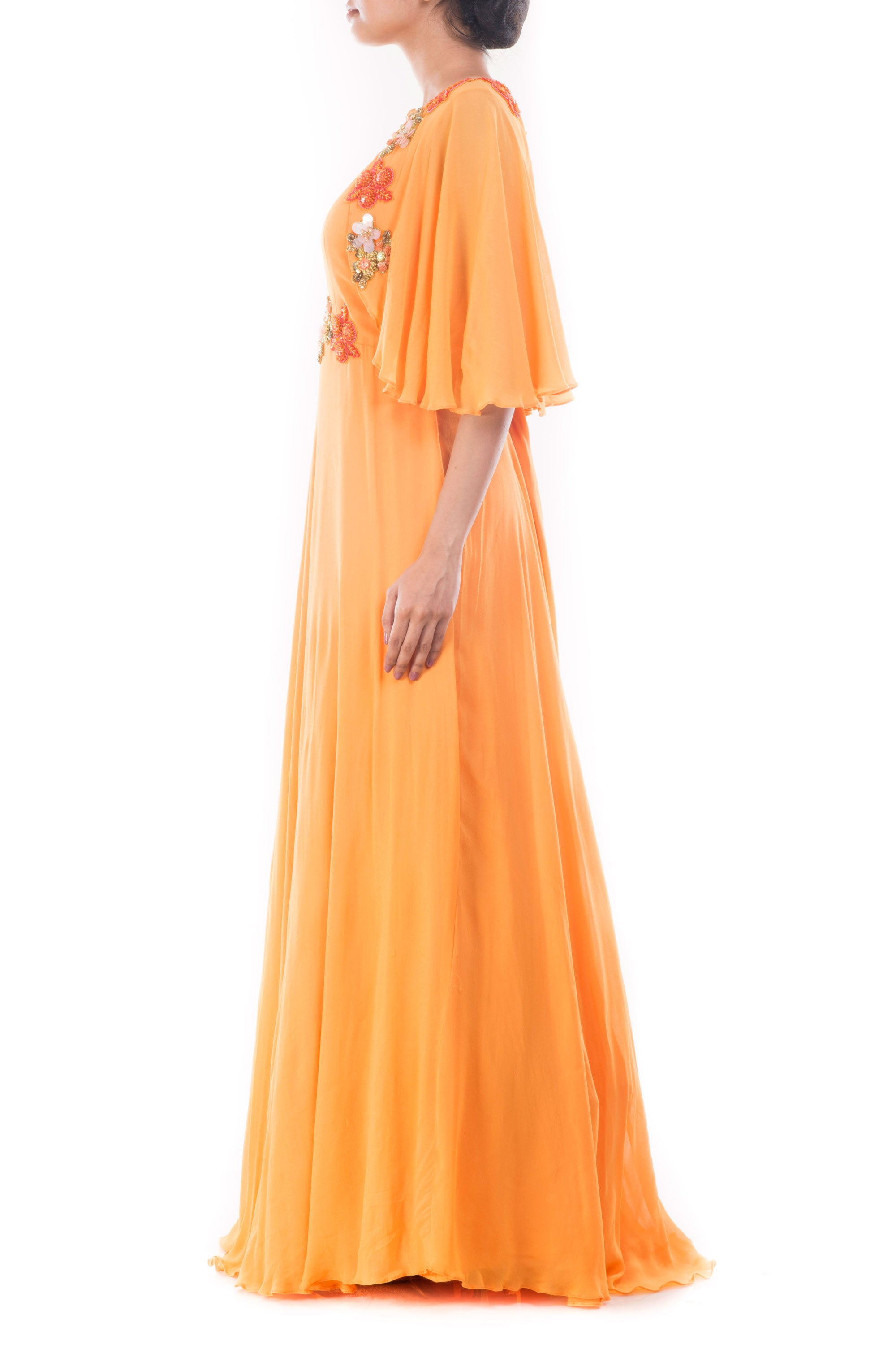 Coral Yellow Flare Jacket Gown Side