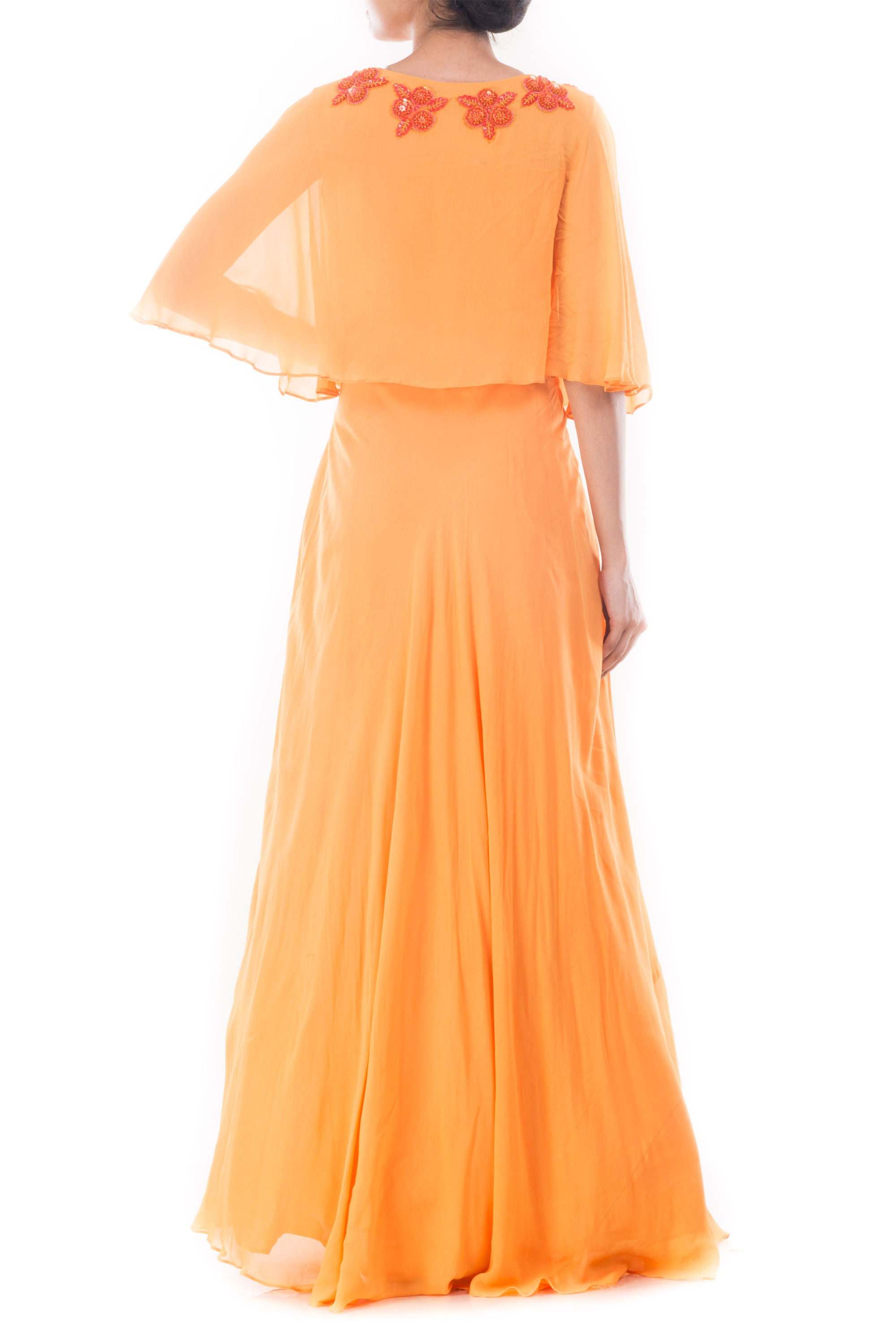Coral Yellow Flare Jacket Gown Back