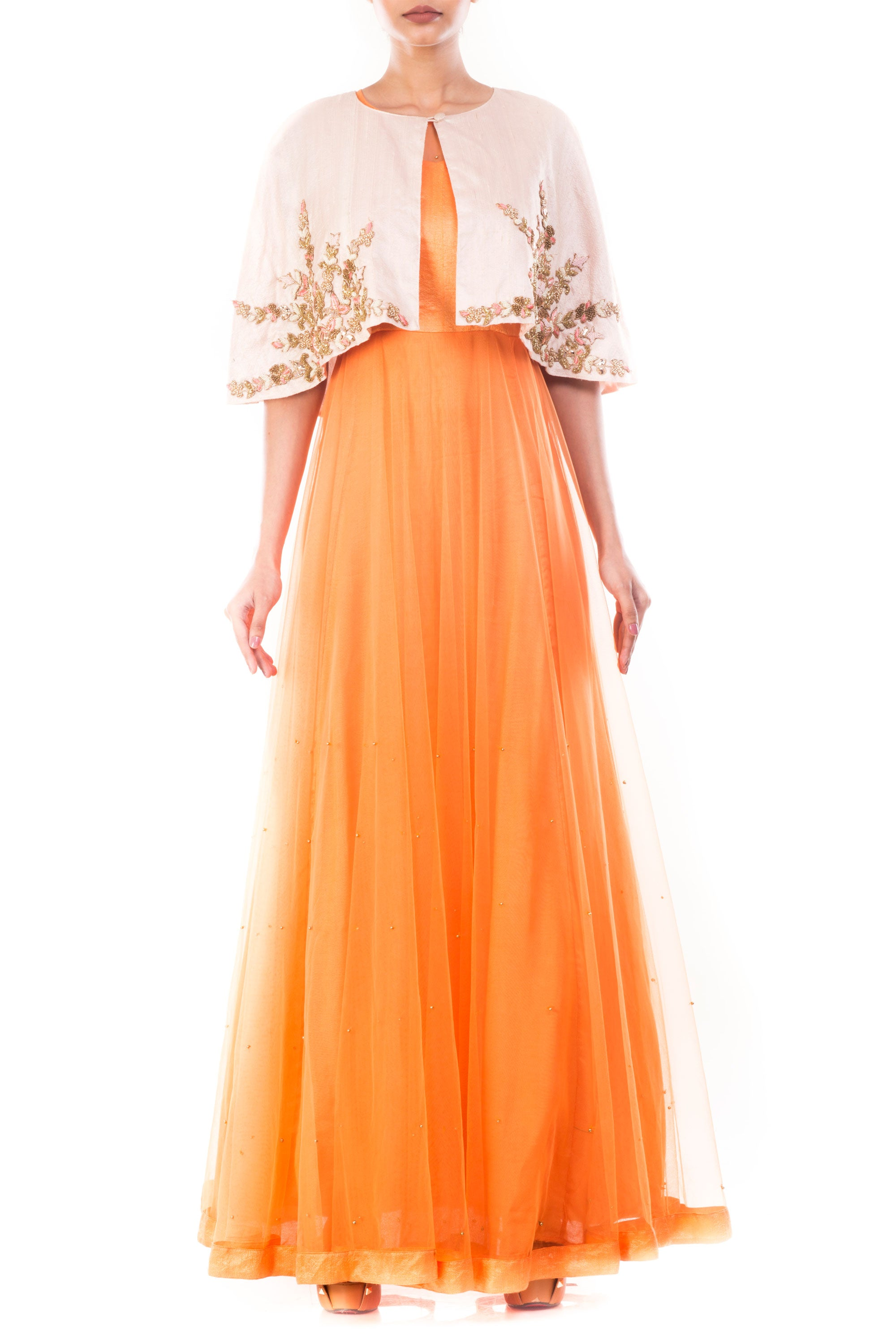Tangerine Vintage Gown With Embellished Jacket Front