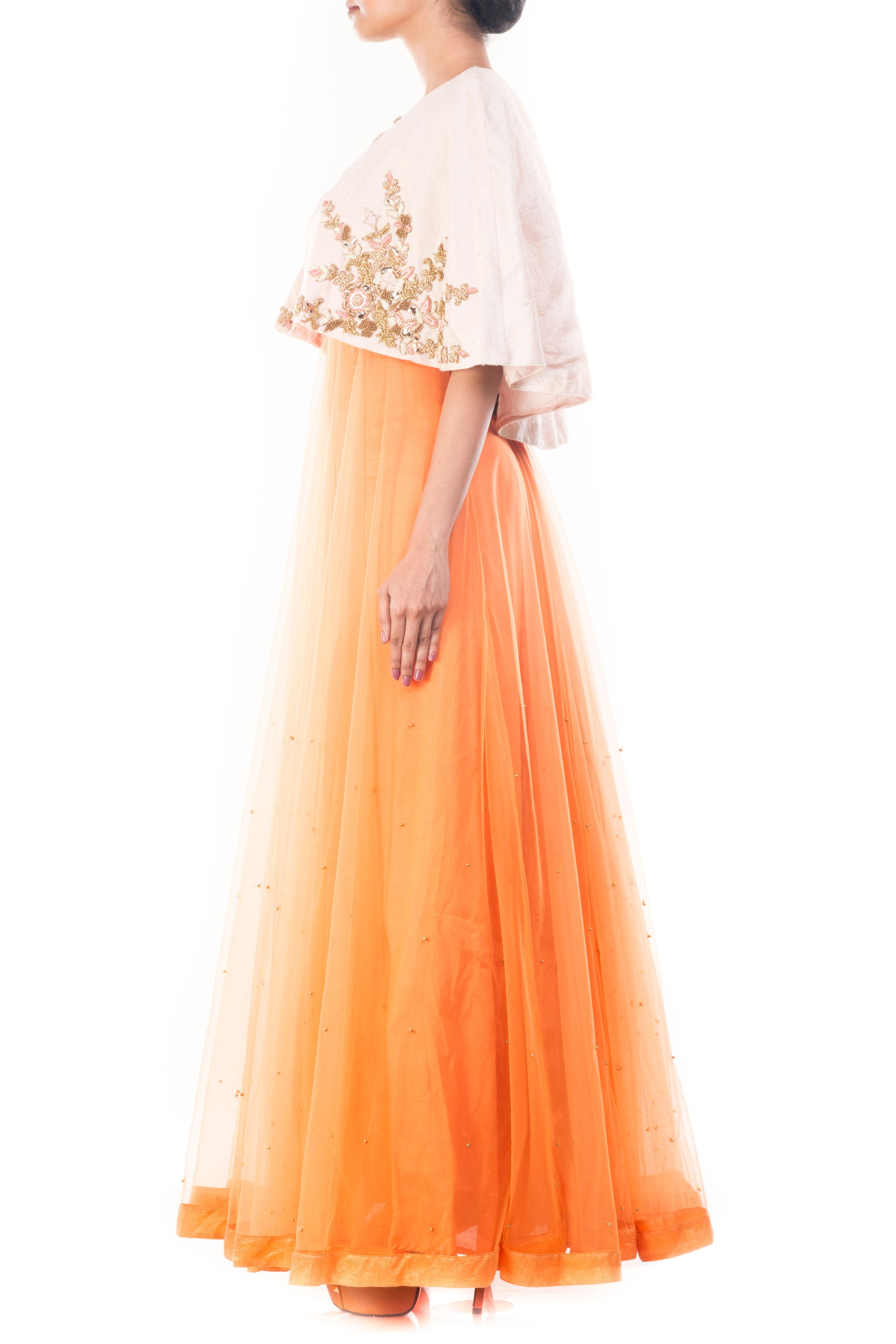 Tangerine Vintage Gown With Embellished Jacket Side