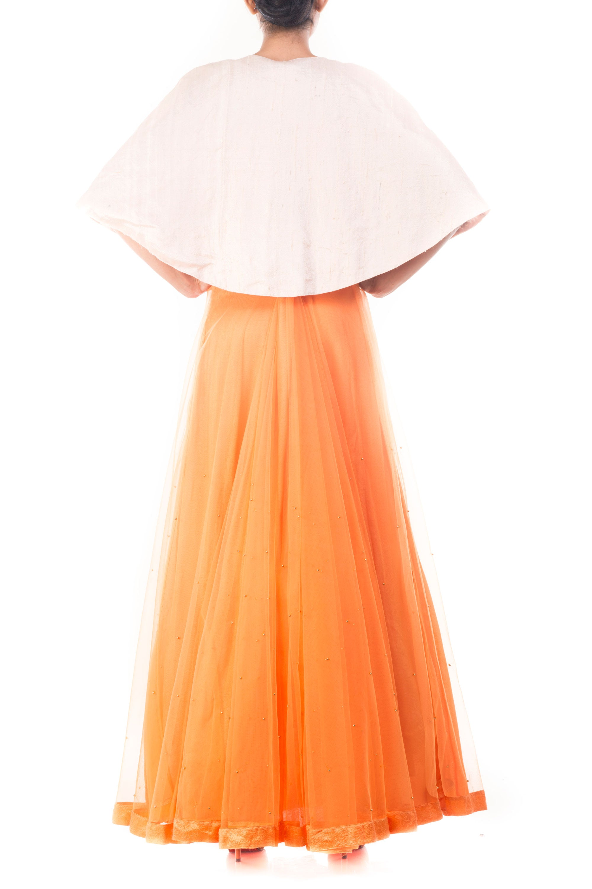 Tangerine Vintage Gown With Embellished Jacket Back