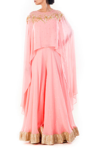 Pink Embellished Cape Top With Sharara Pants Front