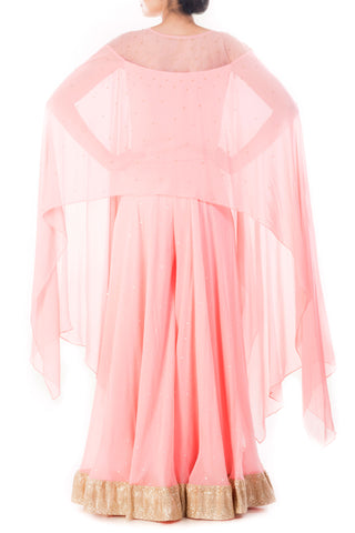 Pink Embellished Cape Top With Sharara Pants
