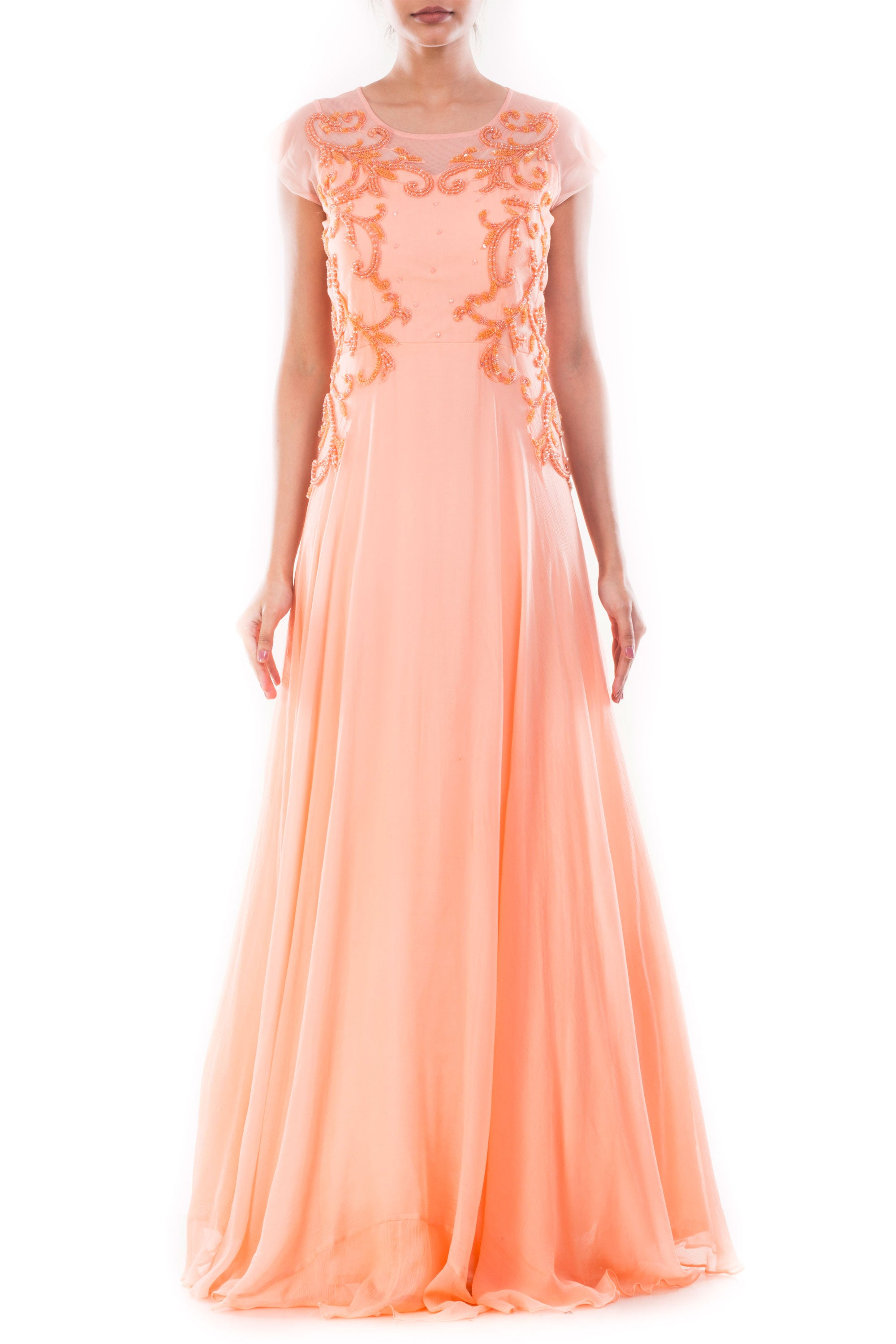 Peach Embellished Long Gown Front