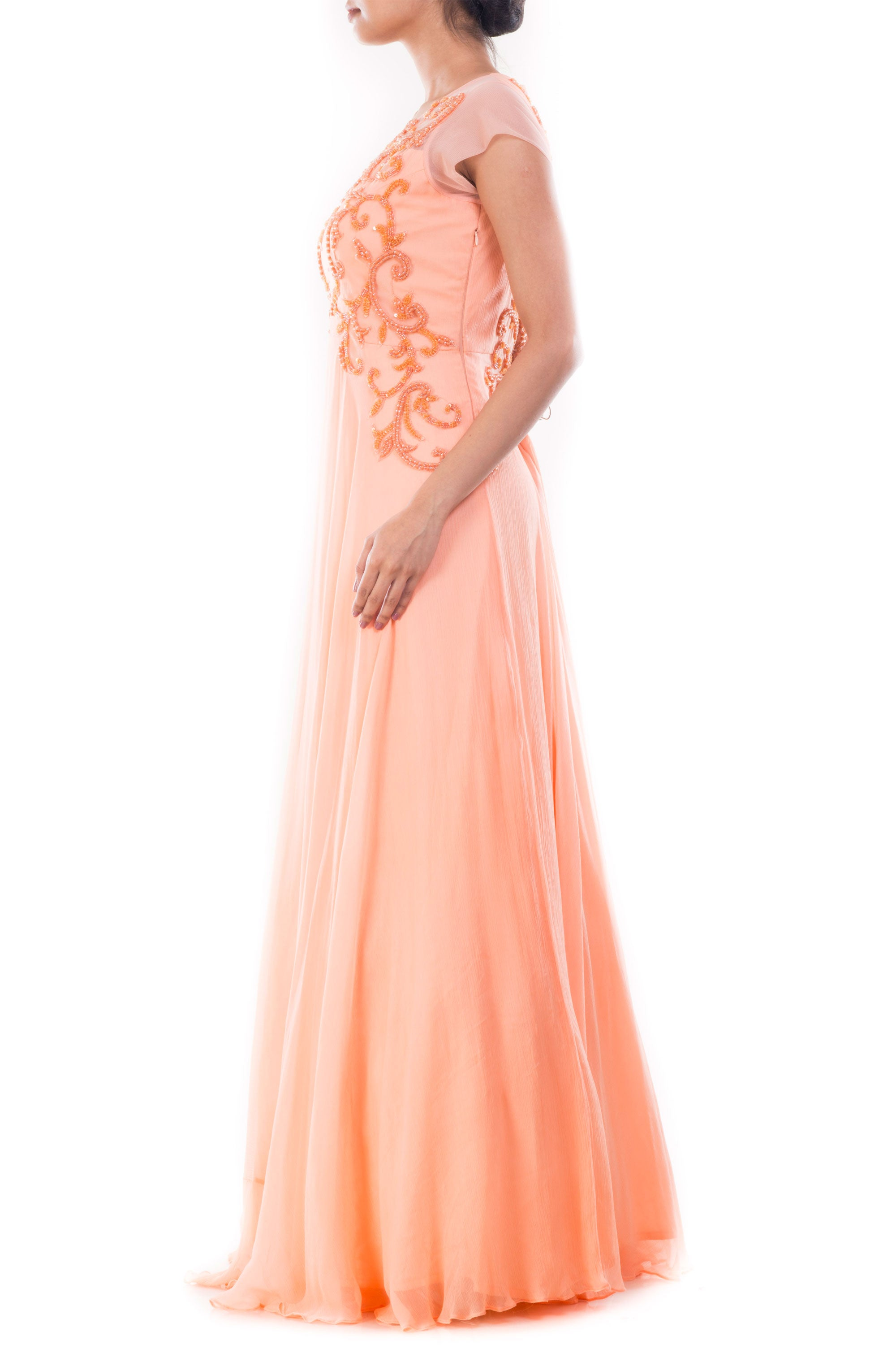 Peach Embellished Long Gown Side