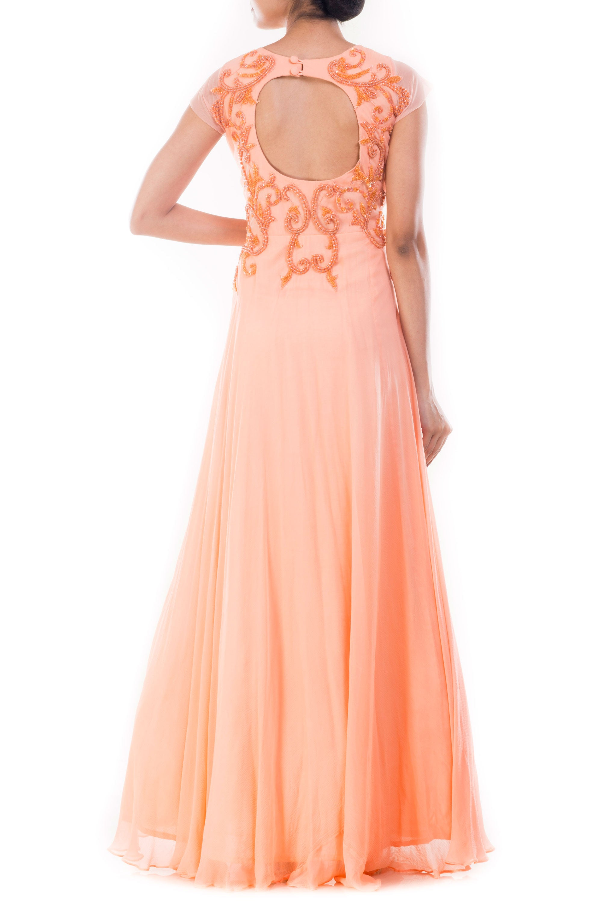 Peach Embellished Long Gown Back