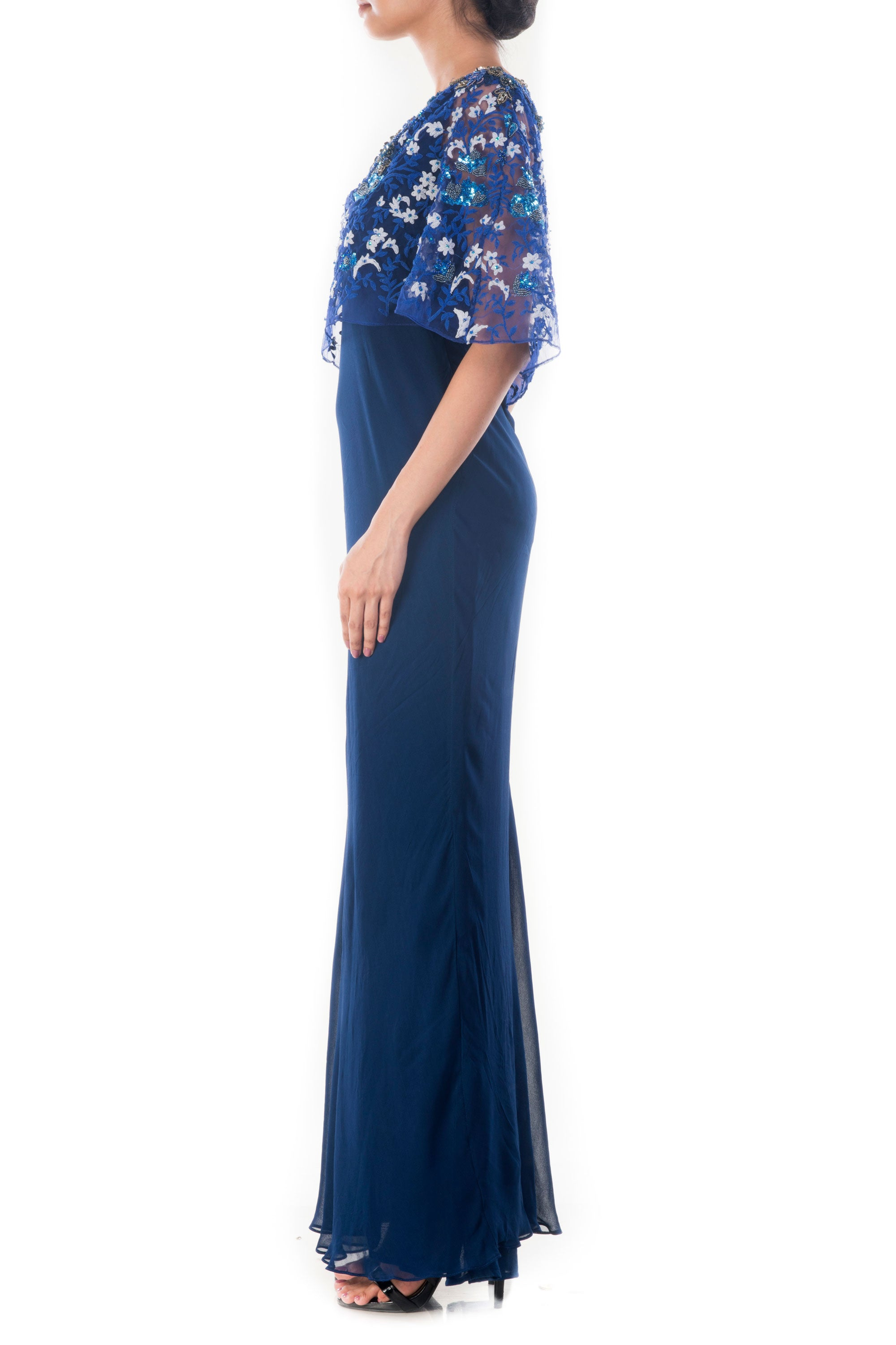 Midnight Blue Embroidered Gown Side