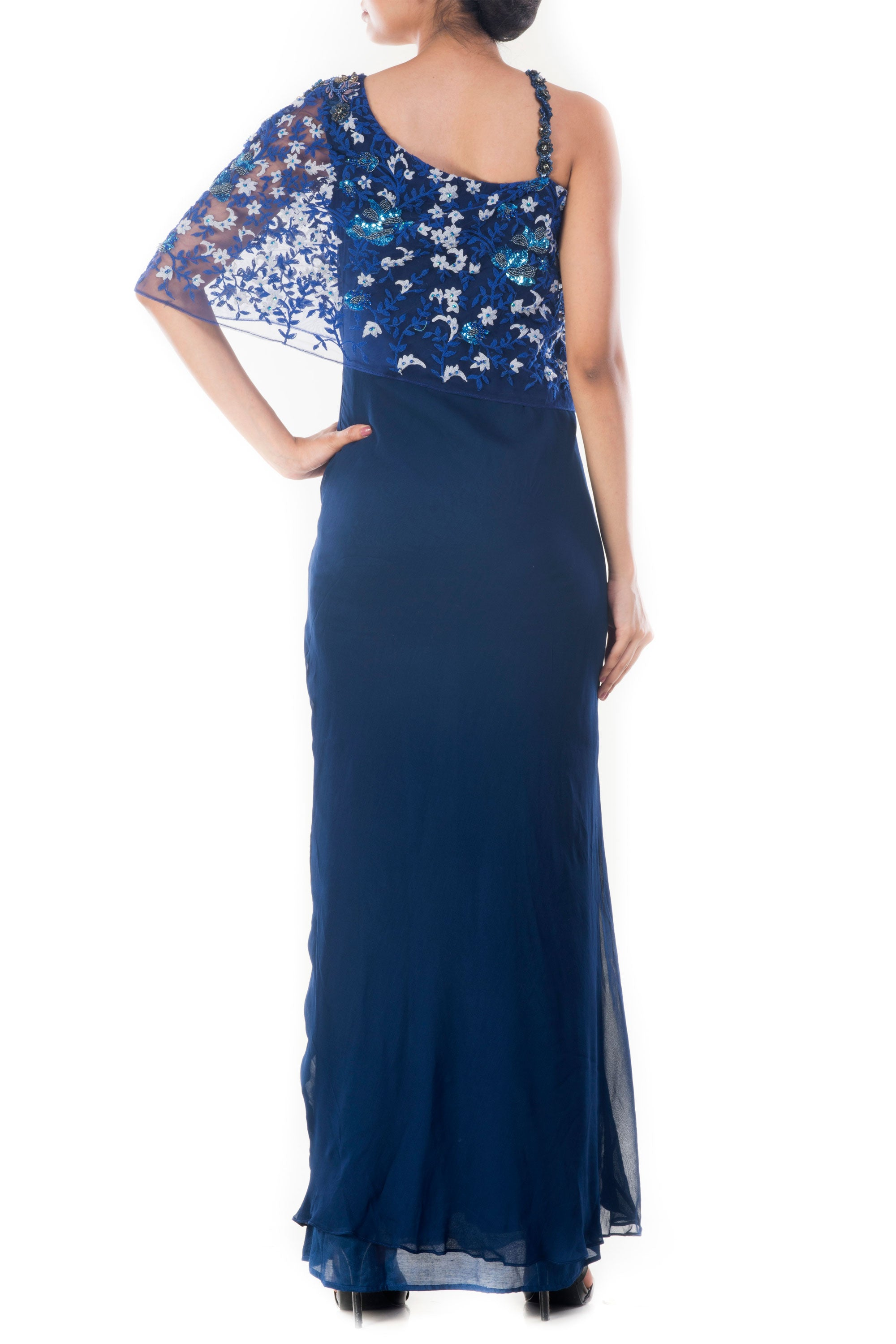 Midnight Blue Embroidered Gown Back