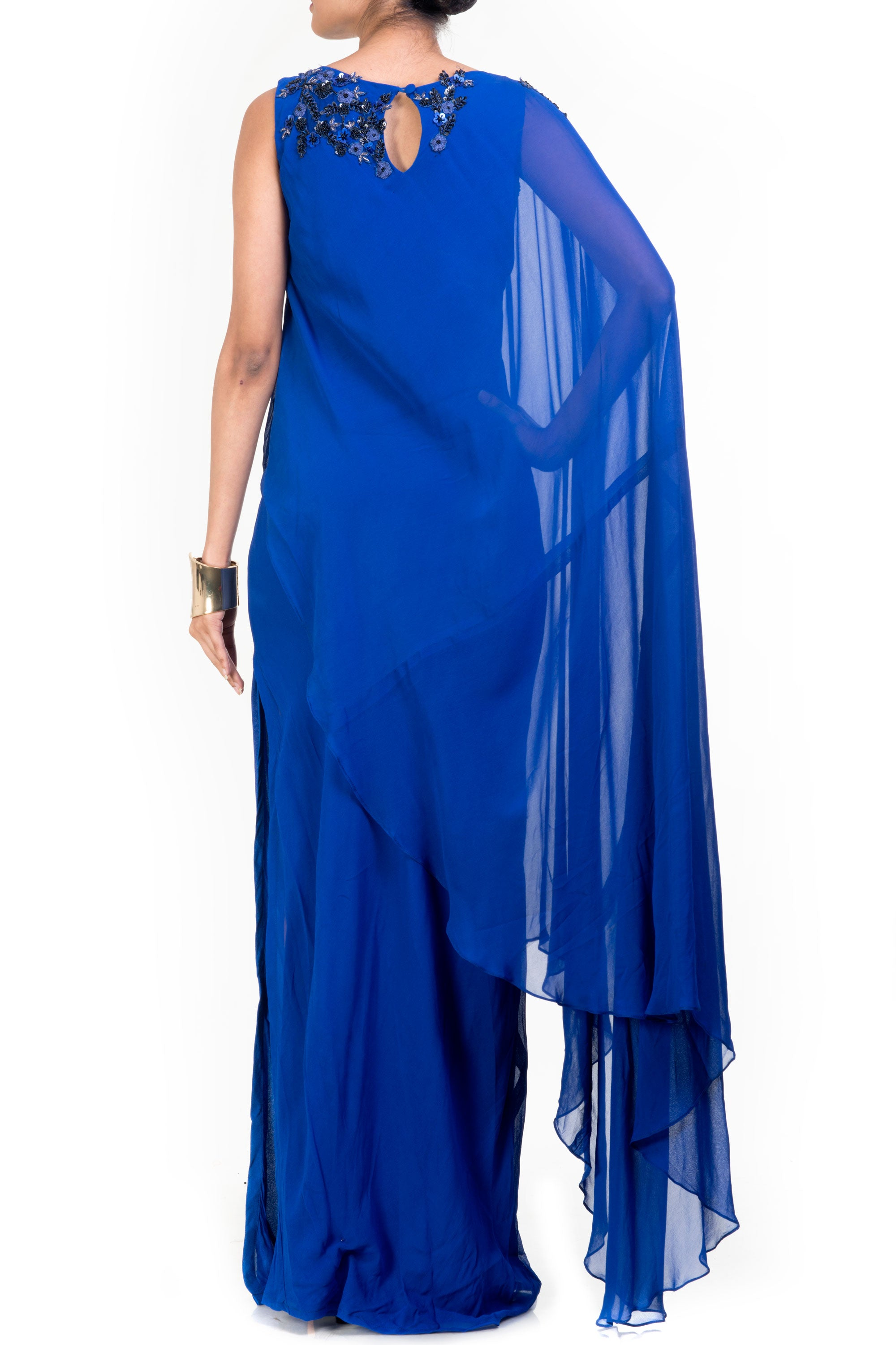 Side Layer Electric Blue Cape Gown Back