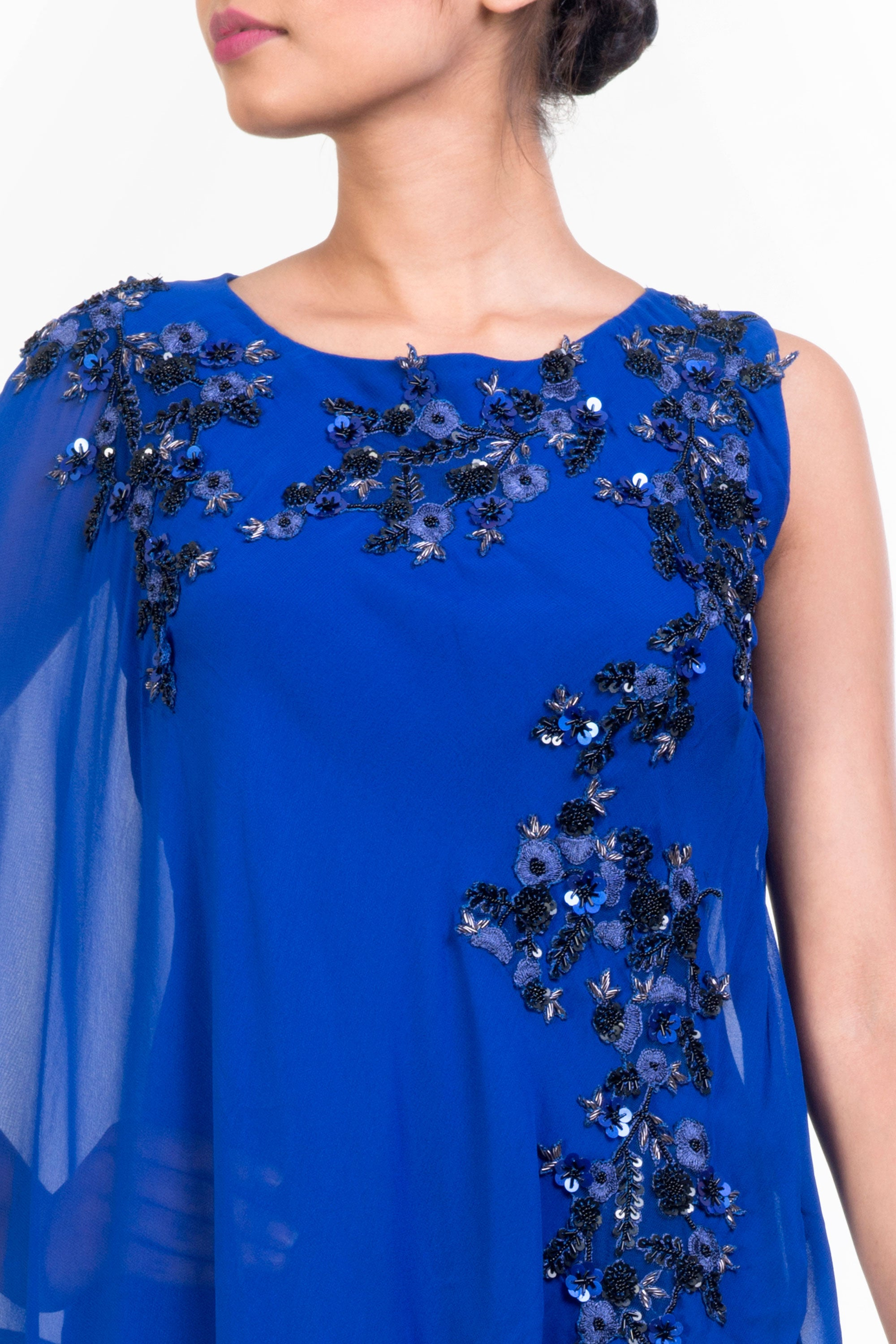 Side Layer Electric Blue Cape Gown Closeup