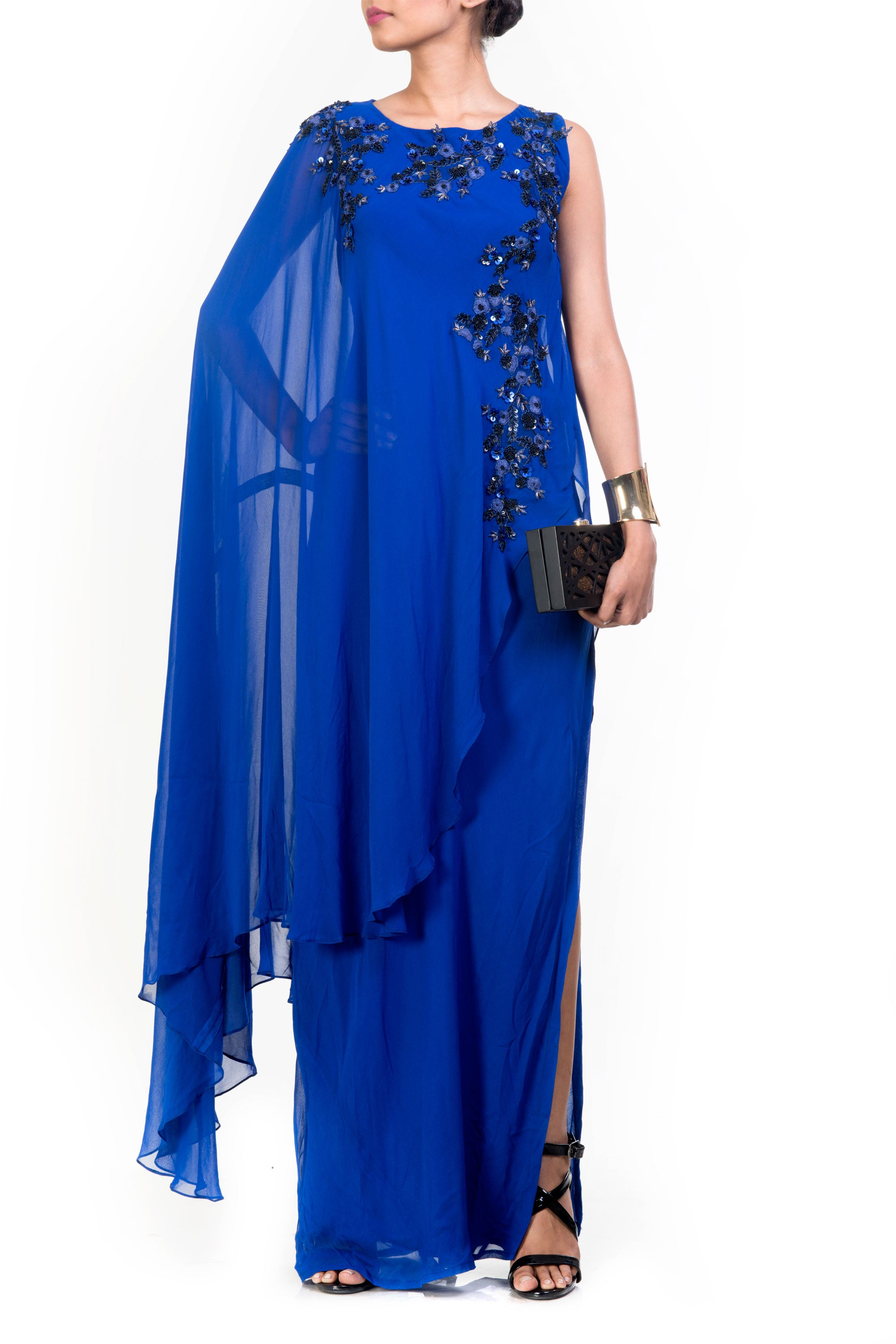 Side Layer Electric Blue Cape Gown Front