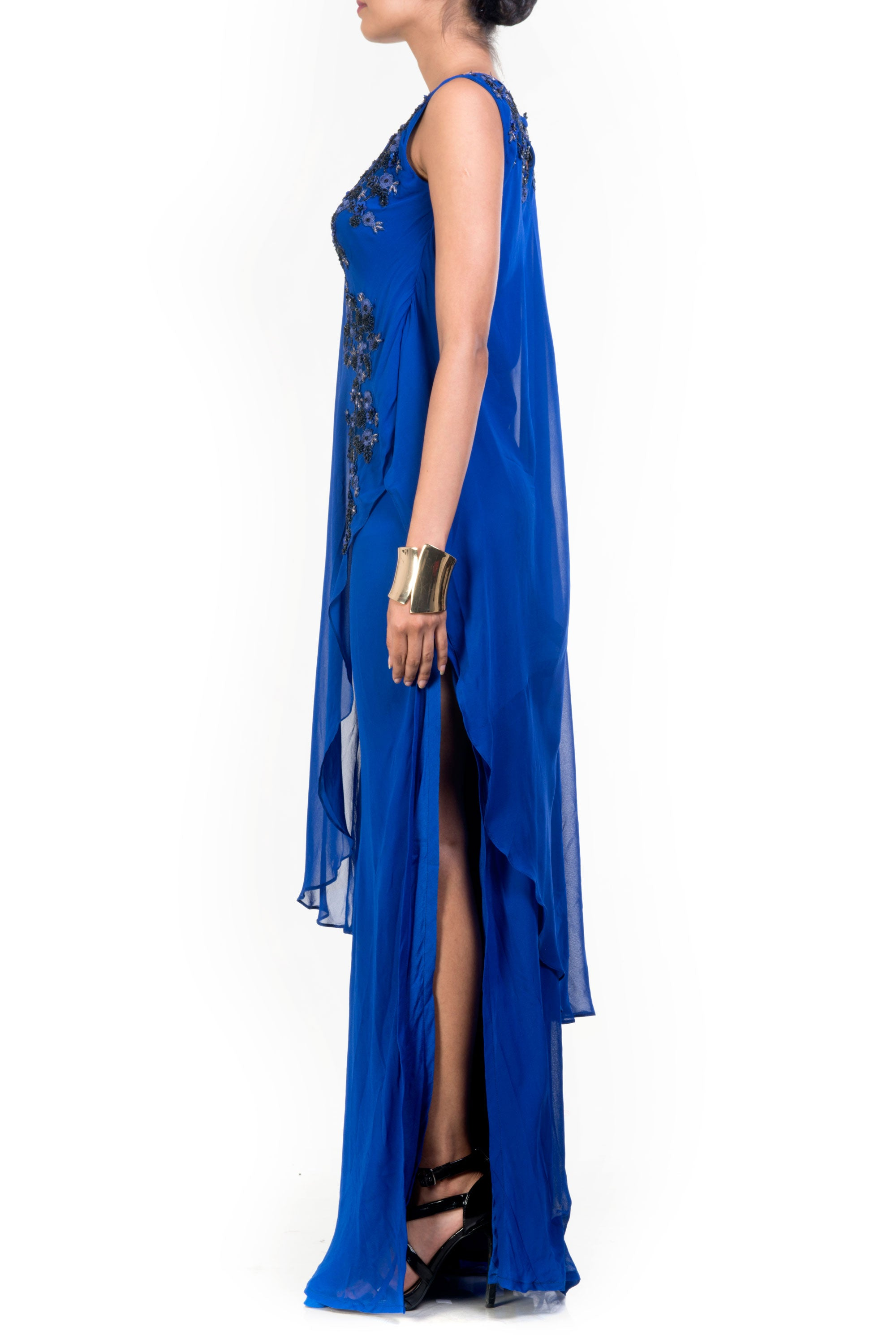Side Layer Electric Blue Cape Gown Side