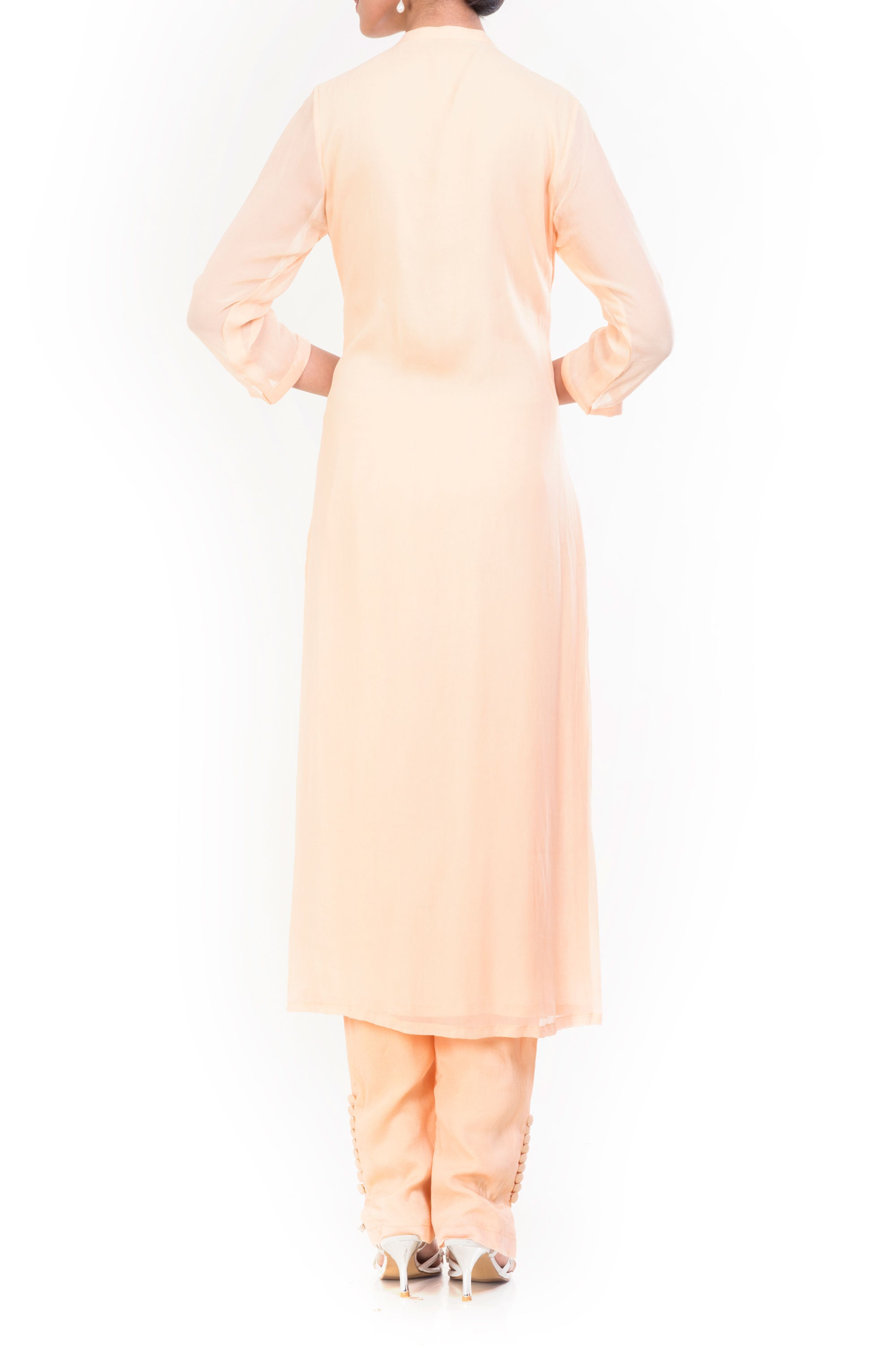 Cornsilk Straight Tunic With Slim Fit Pants Back