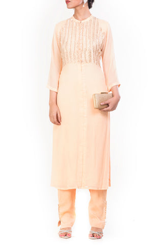 Cornsilk Straight Tunic With Slim Fit Pants Front