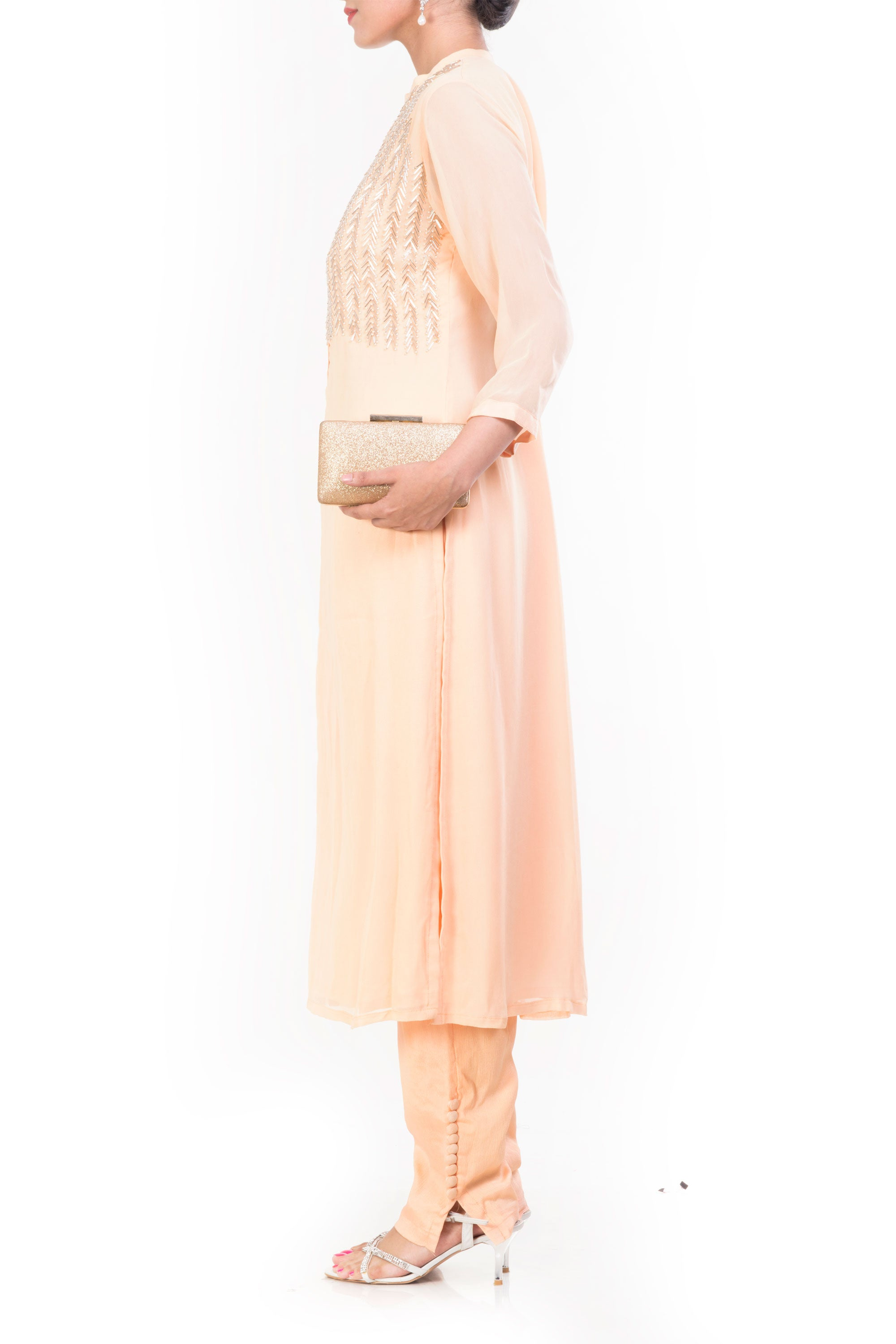 Cornsilk Straight Tunic With Slim Fit Pants Side