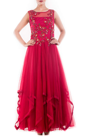 Burgundy Golden Sequins Flare Gown Front