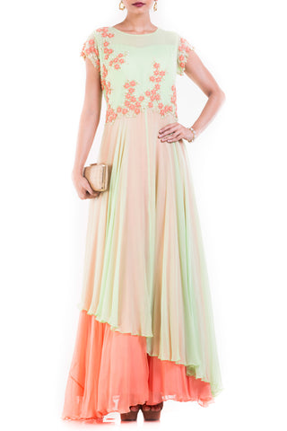 Pastel Green And Orange Double Layer Gown Front