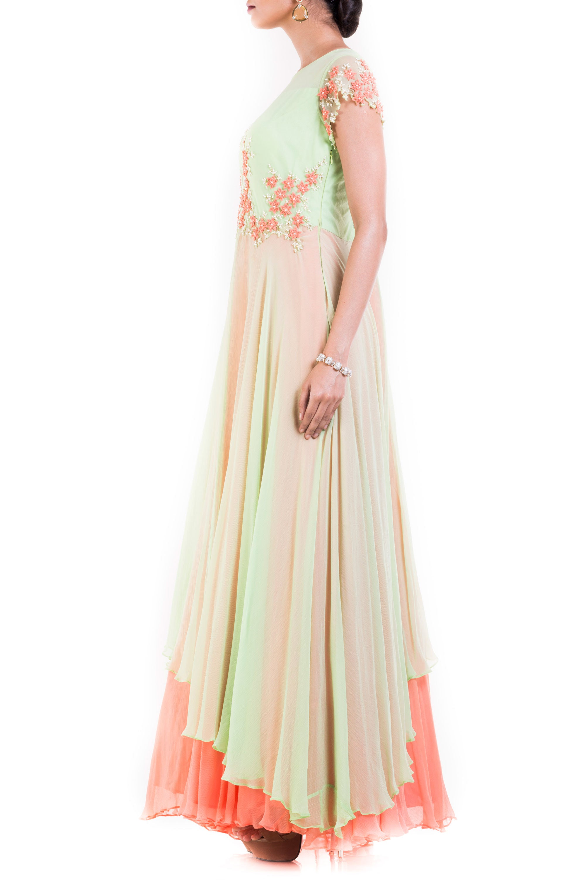 Pastel Green And Orange Double Layer Gown Side