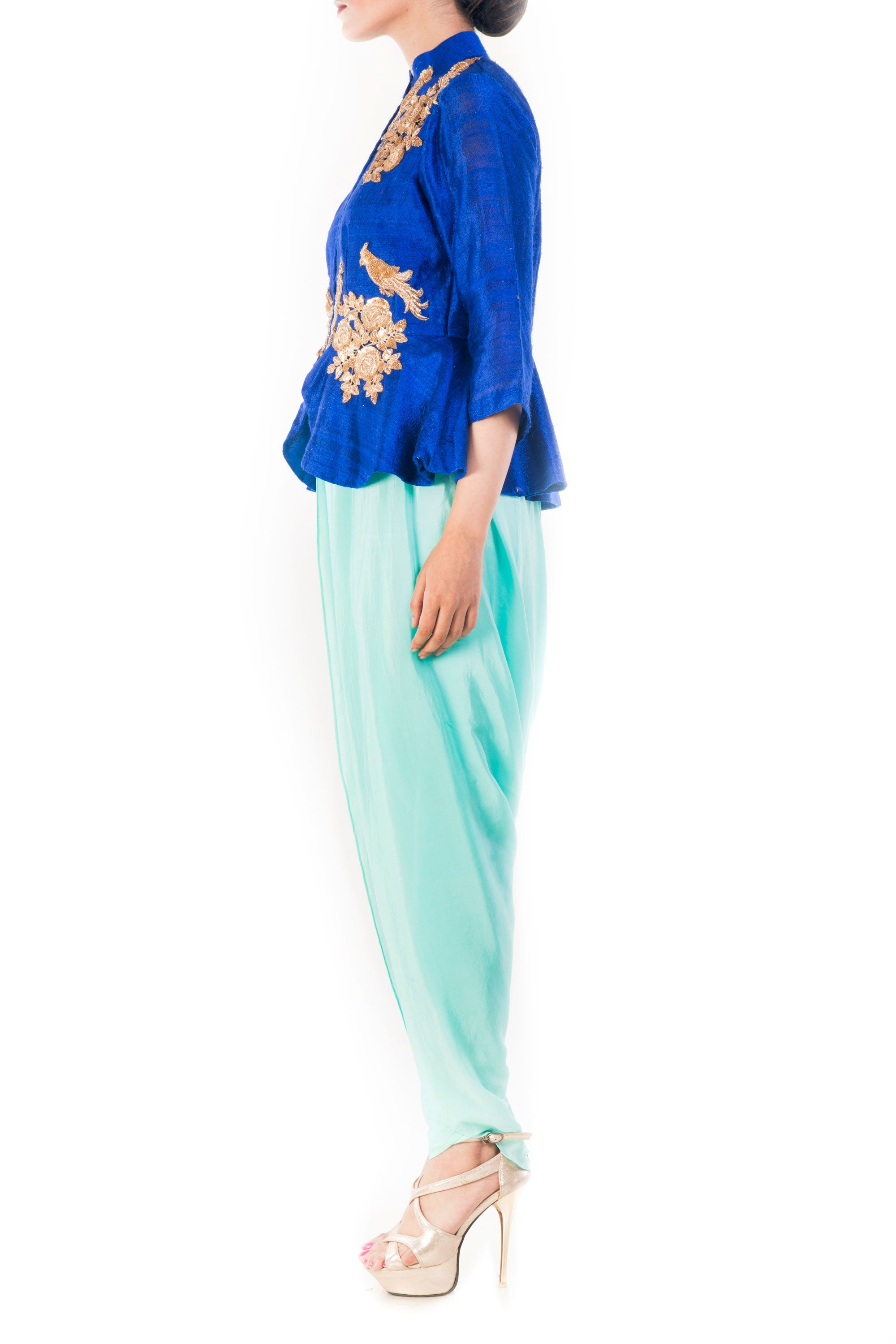 Midnight Blue Peplum Top With Turquoise Dhoti Pant Side