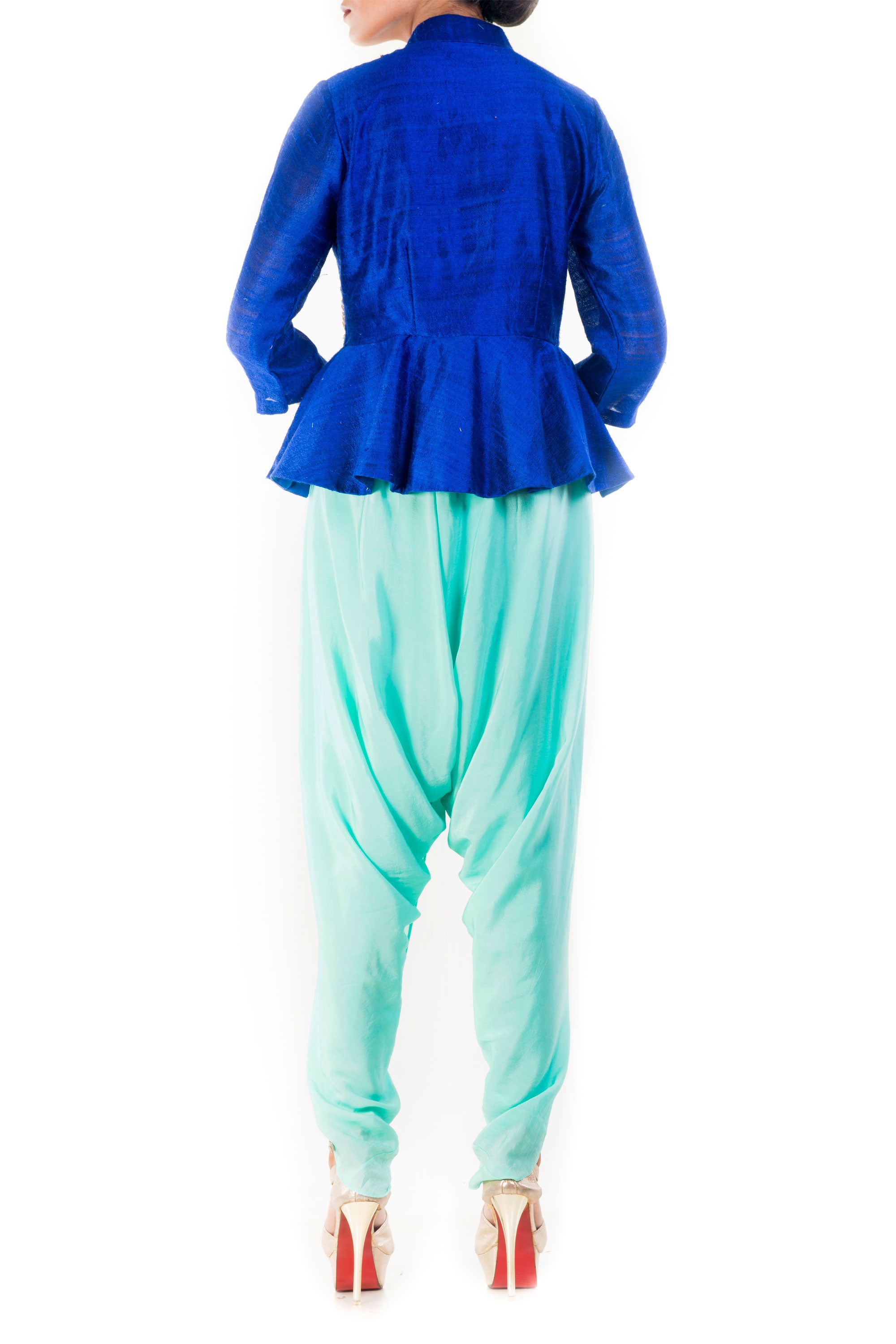 Midnight Blue Peplum Top With Turquoise Dhoti Pant Back