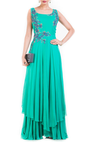 Turquoise Sleeveless Double Layer Cocktail Gown Front