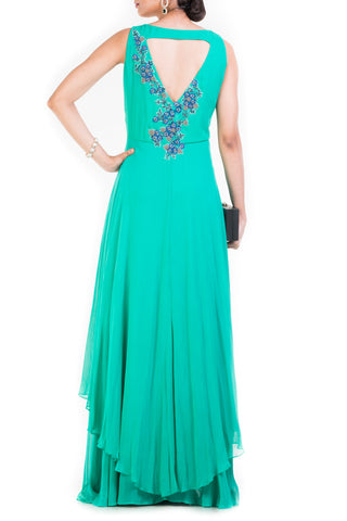 Turquoise Sleeveless Double Layer Cocktail Gown