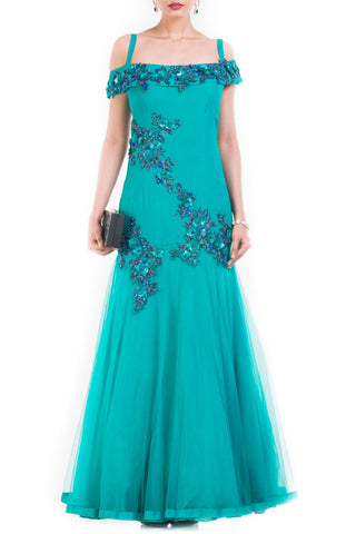 Turquoise Cocktail Gown Front