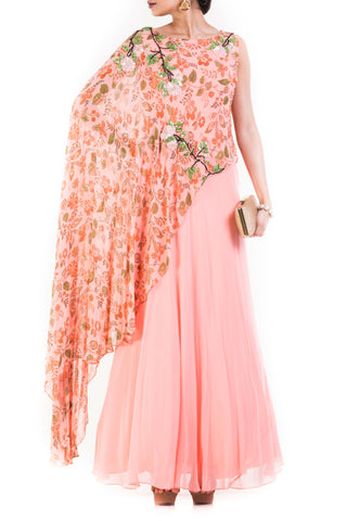 Blush Pink Printed Cape Gown Front