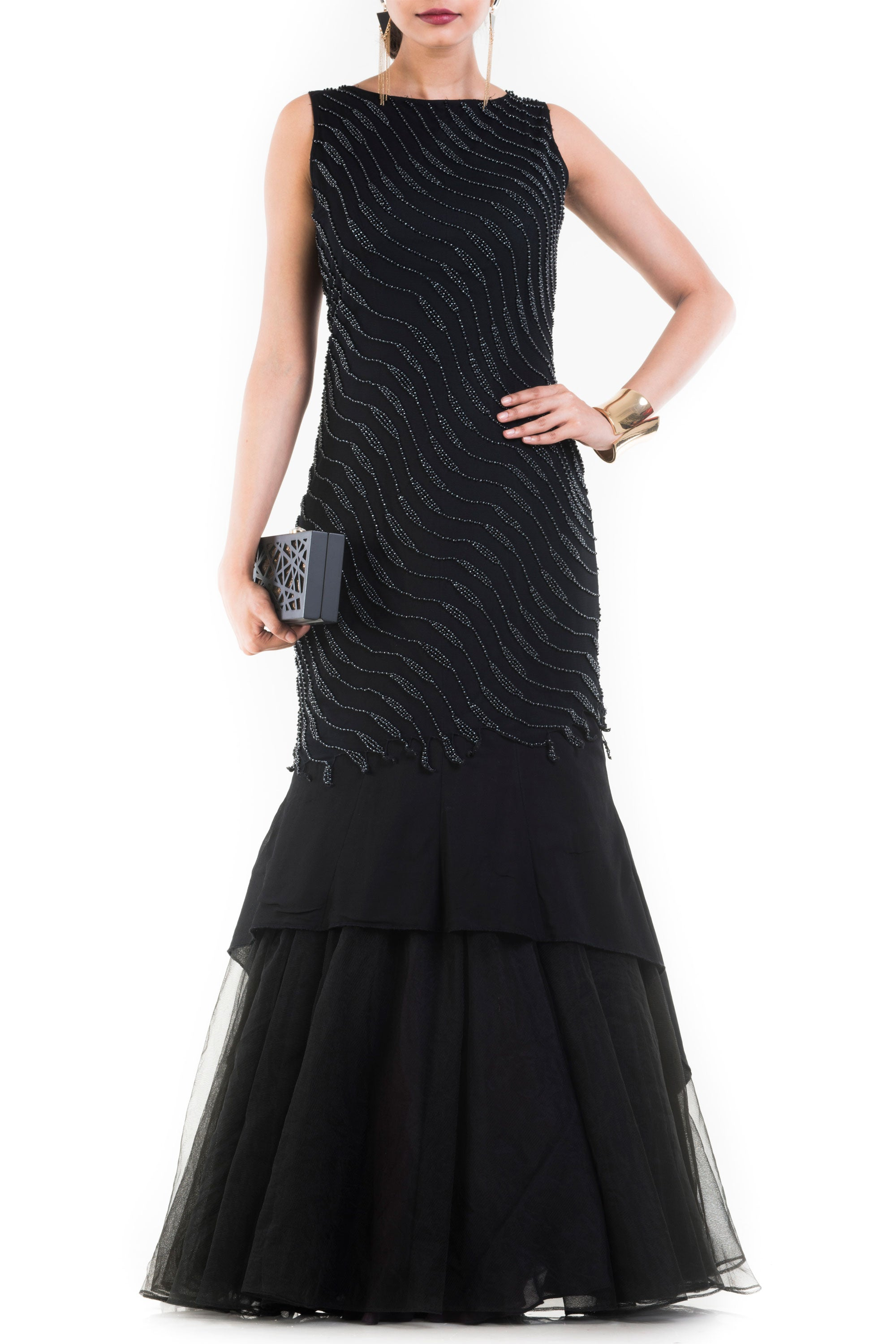 Jet Black Fishtail Off Shoulder Gown Front