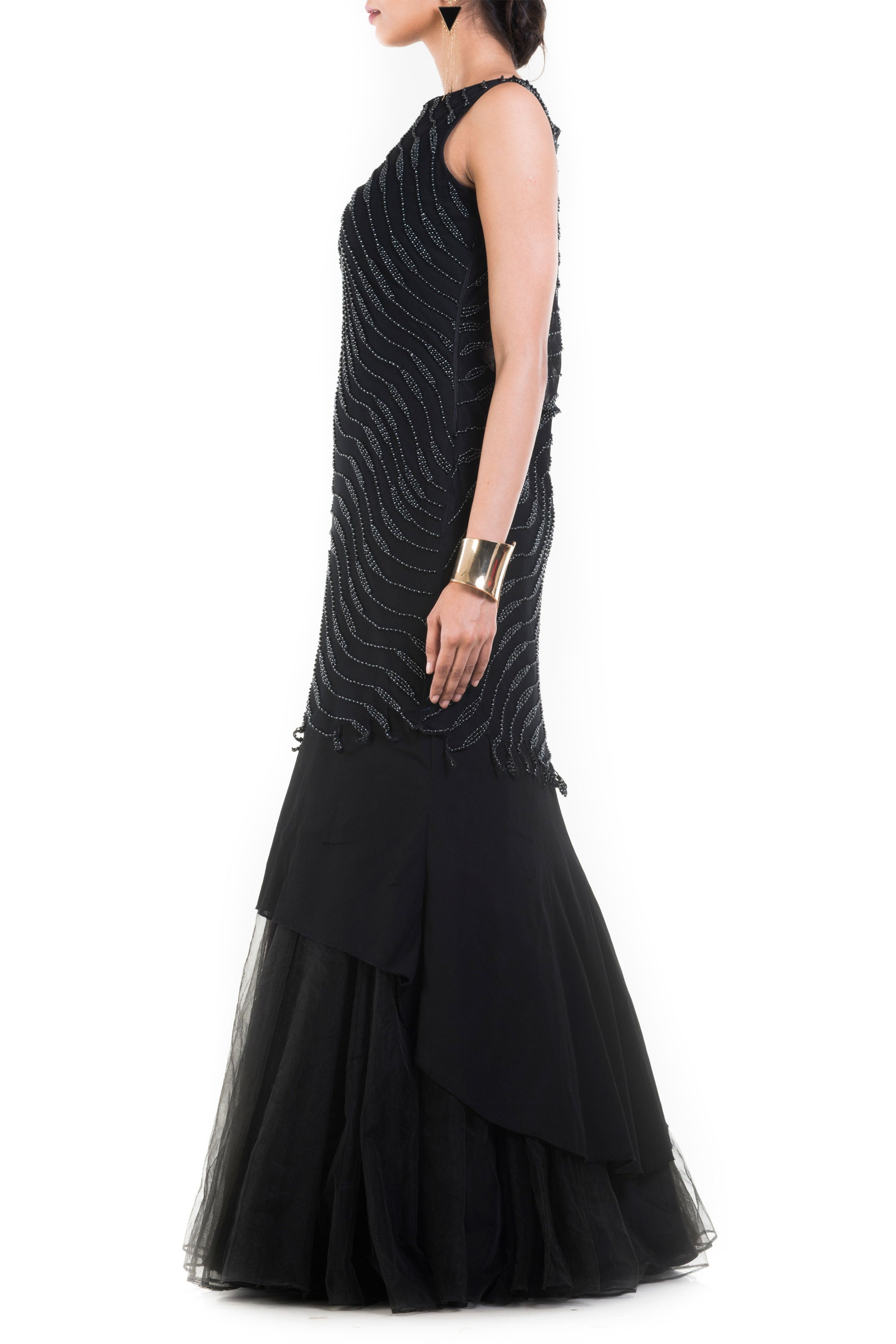 Jet Black Fishtail Off Shoulder Gown Side