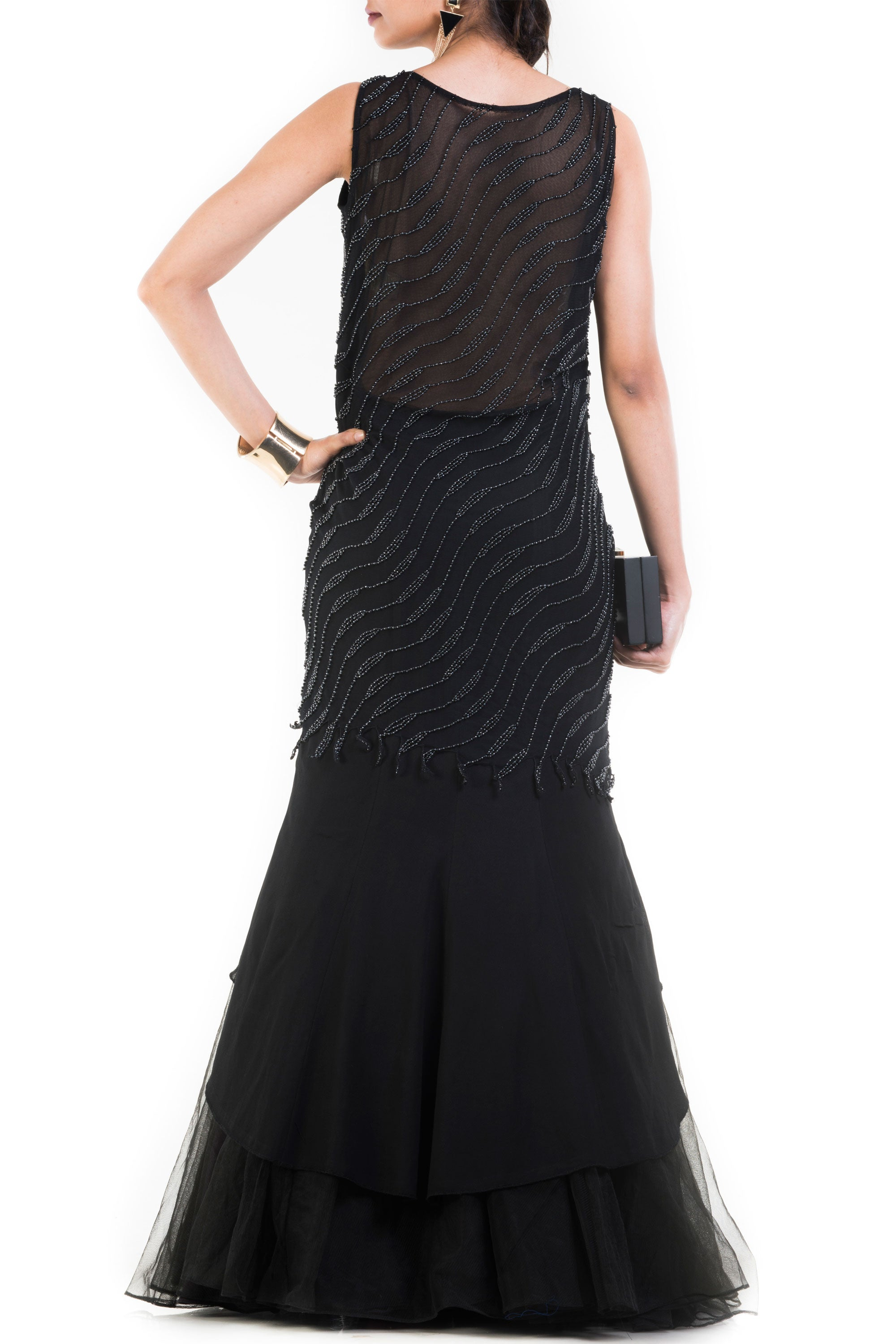 Jet Black Fishtail Off Shoulder Gown Back