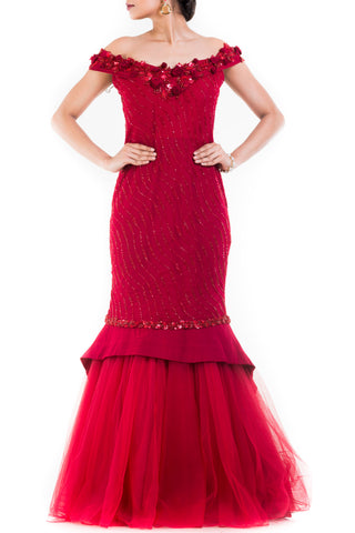 Maroon Fishtail Off Shoulder Gown Front