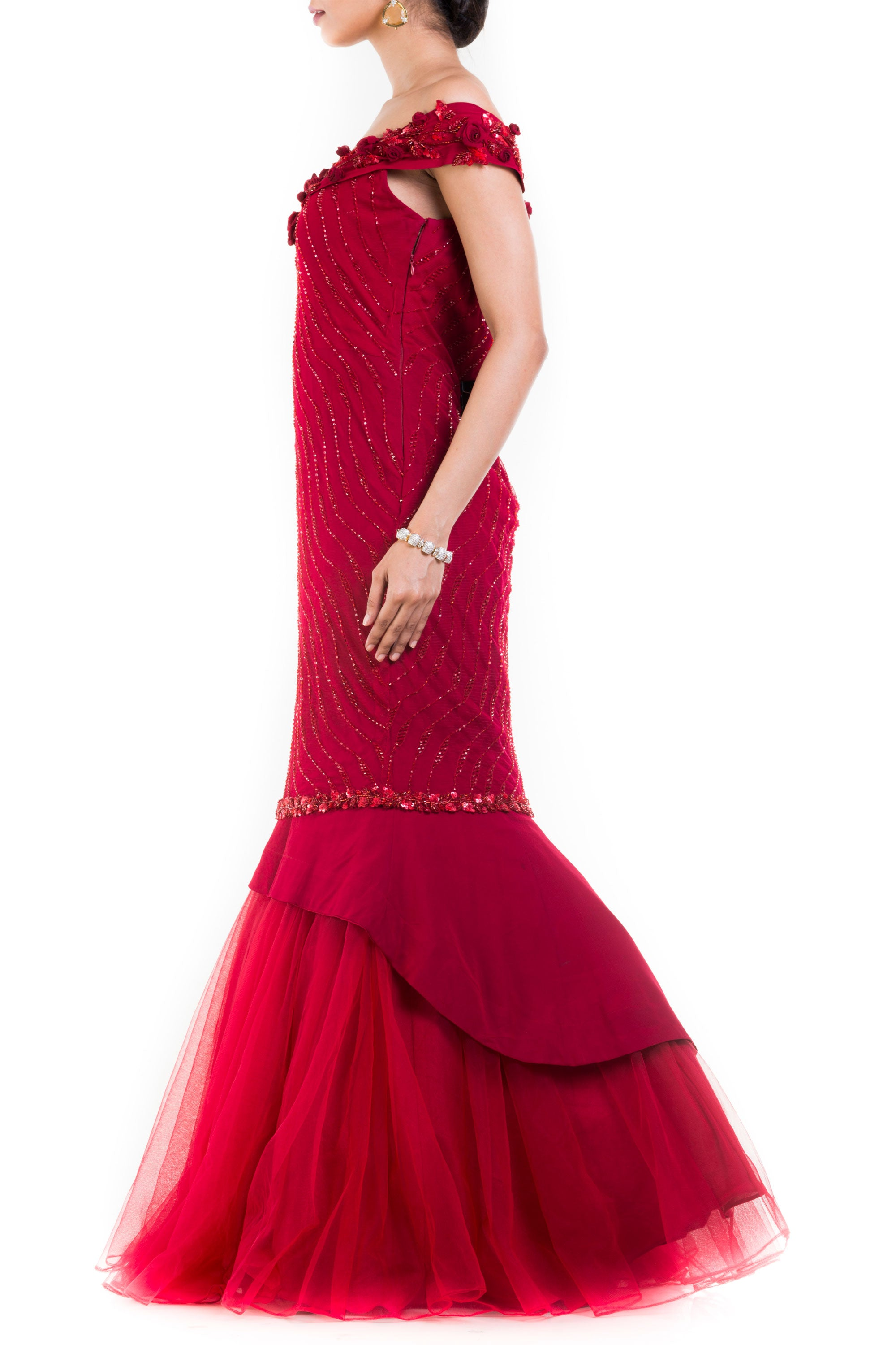 Maroon Fishtail Off Shoulder Gown Side