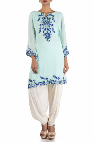Sky Blue & Off White Kurti Set Front