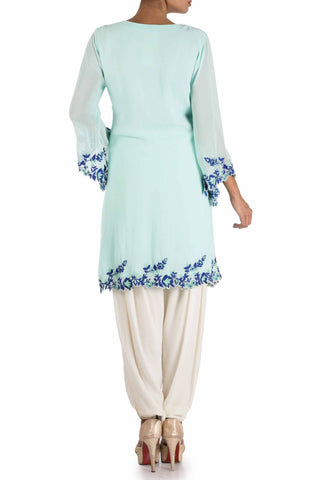 Sky Blue & Off White Kurti Set